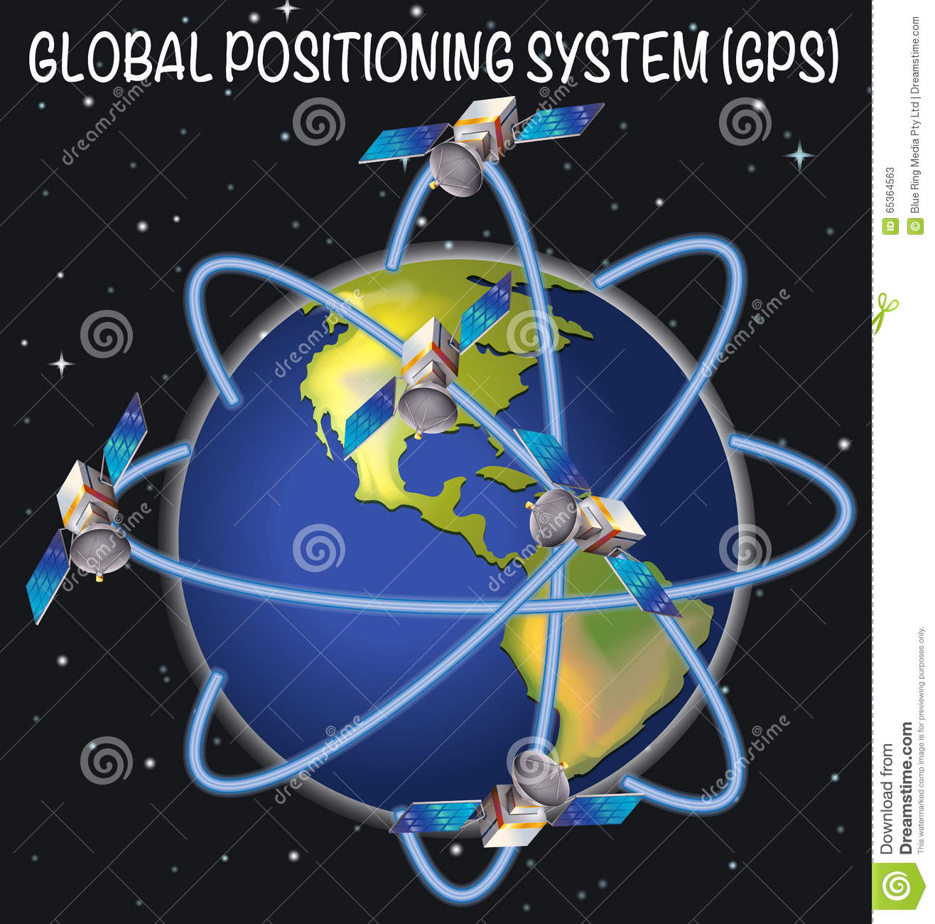 Diagram    Of    Global Positioning System    Stock Vector