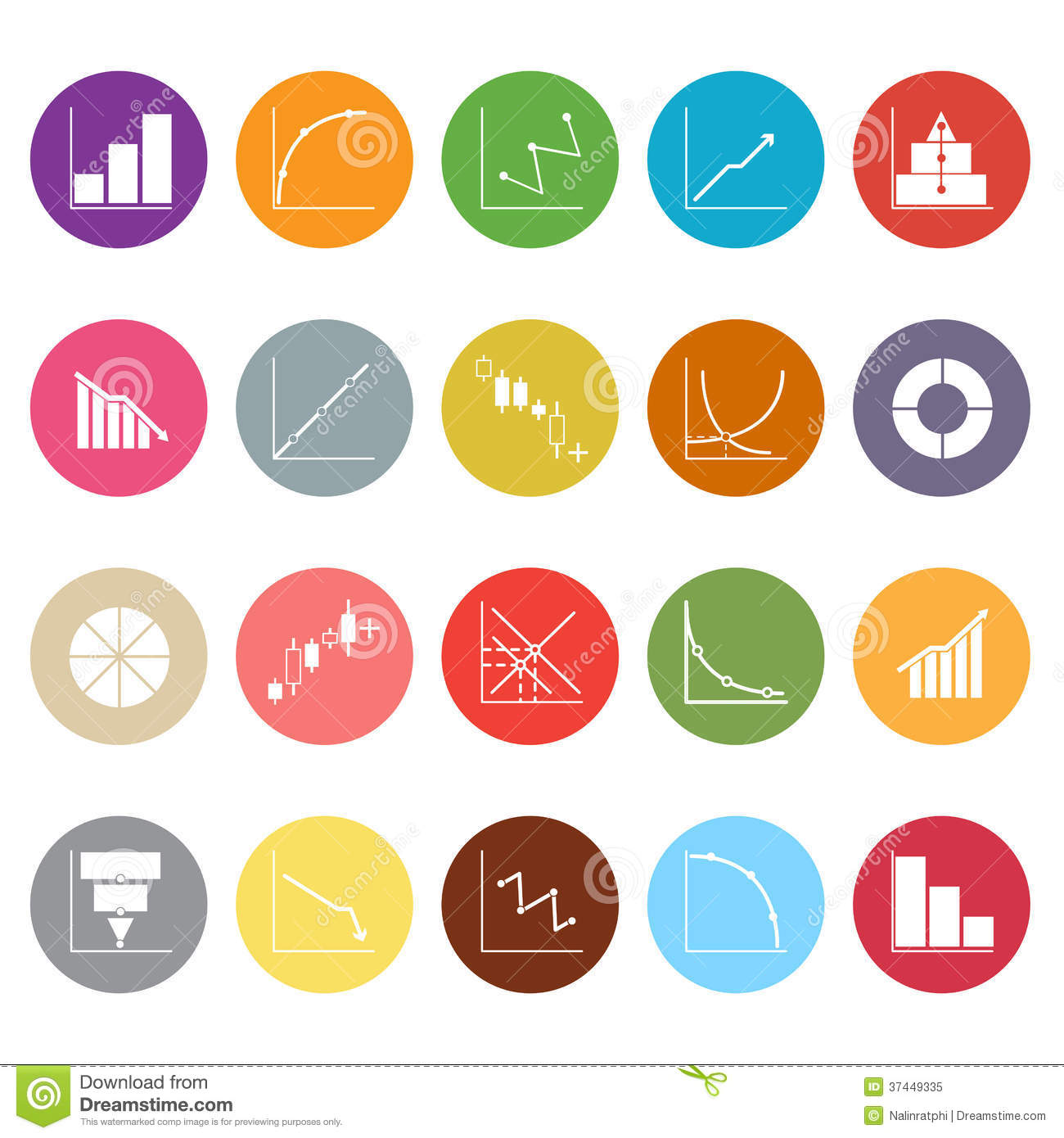 Diagram And Graph Flat Icons On White Background Stock