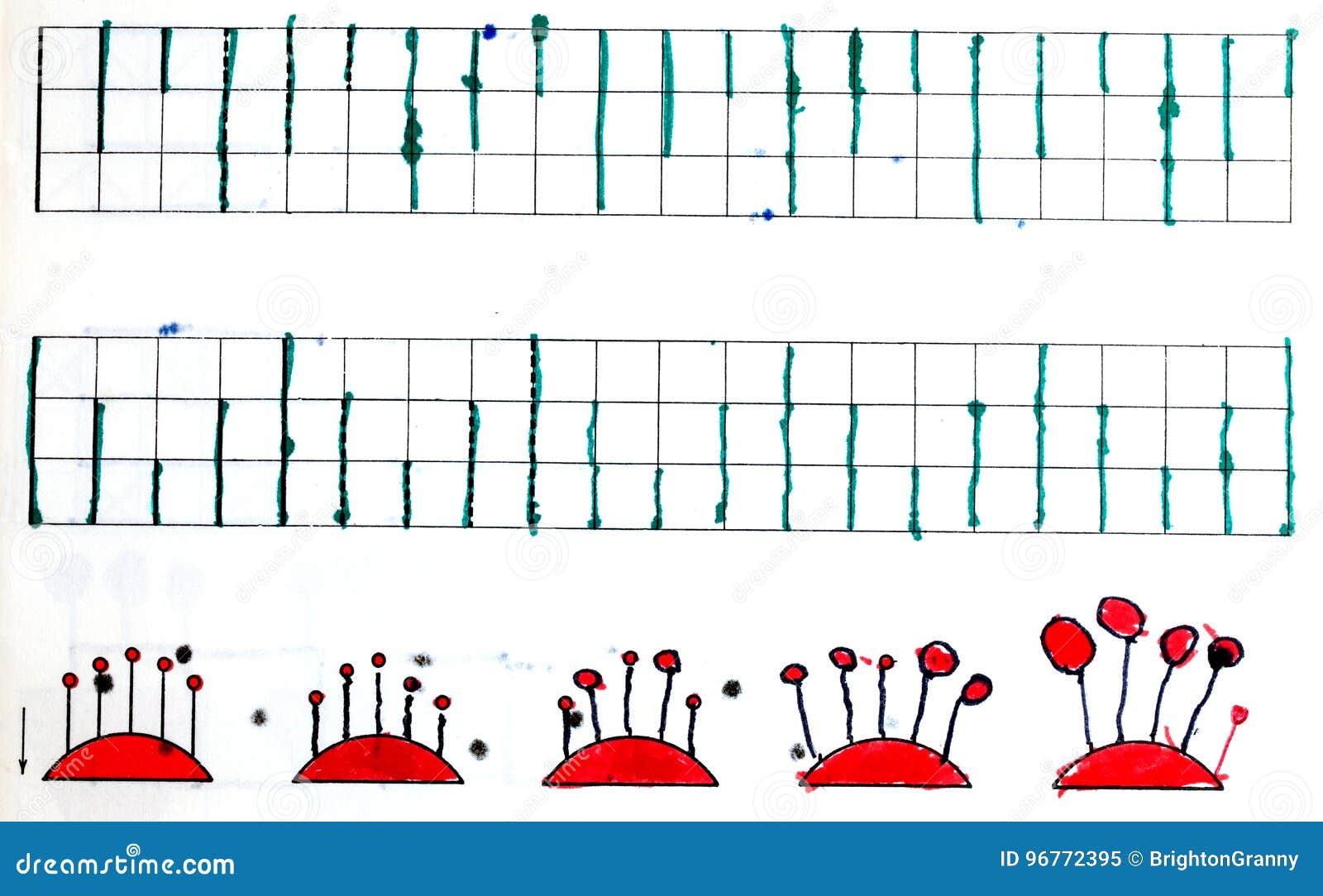 Diagram i anteckningsbok för barn` s