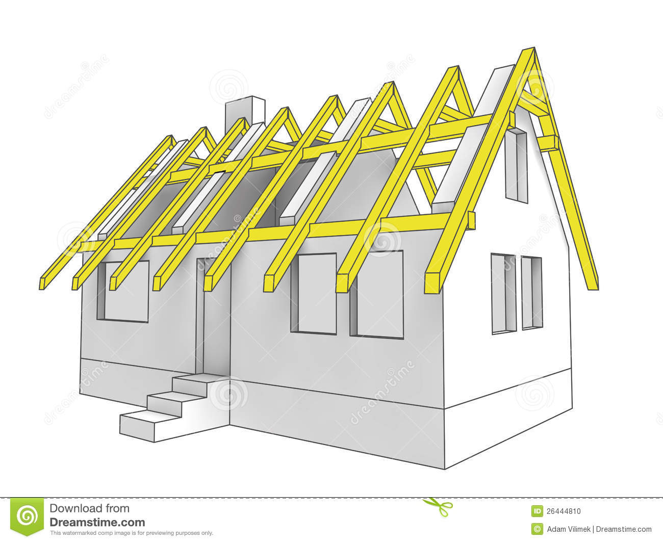 House Floor Plan With Measurements Diagram Icon Building Roof Of House Stock Illustration