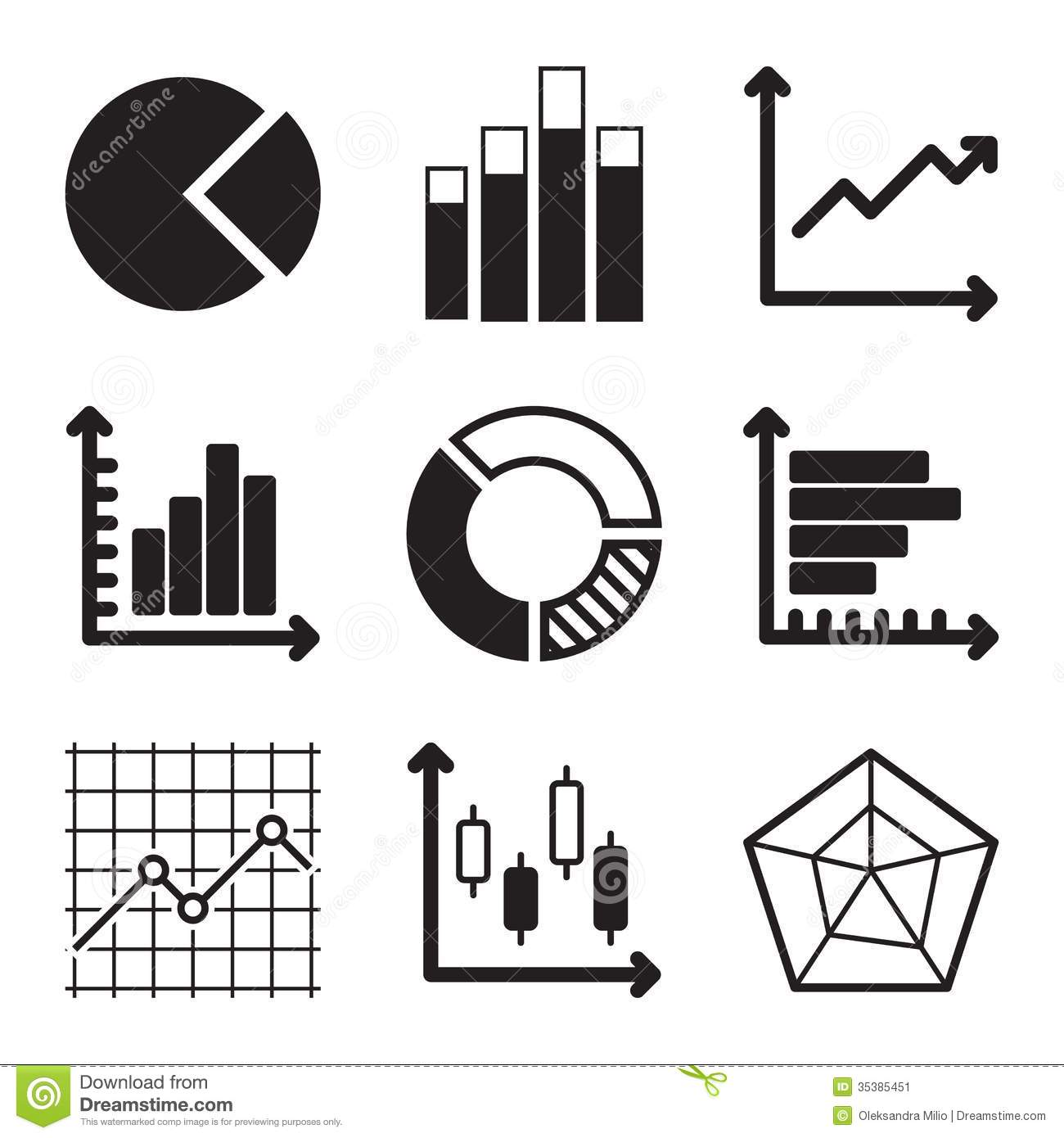 Diagram Icons Set Stock Vector  Illustration Of Charts