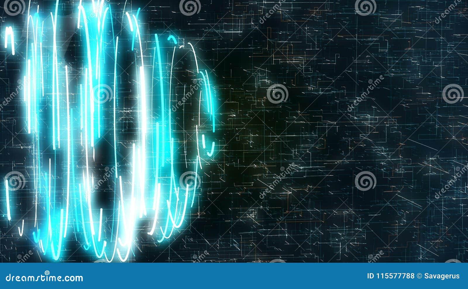 Diagram med blåttspiral på science fictionbakgrund