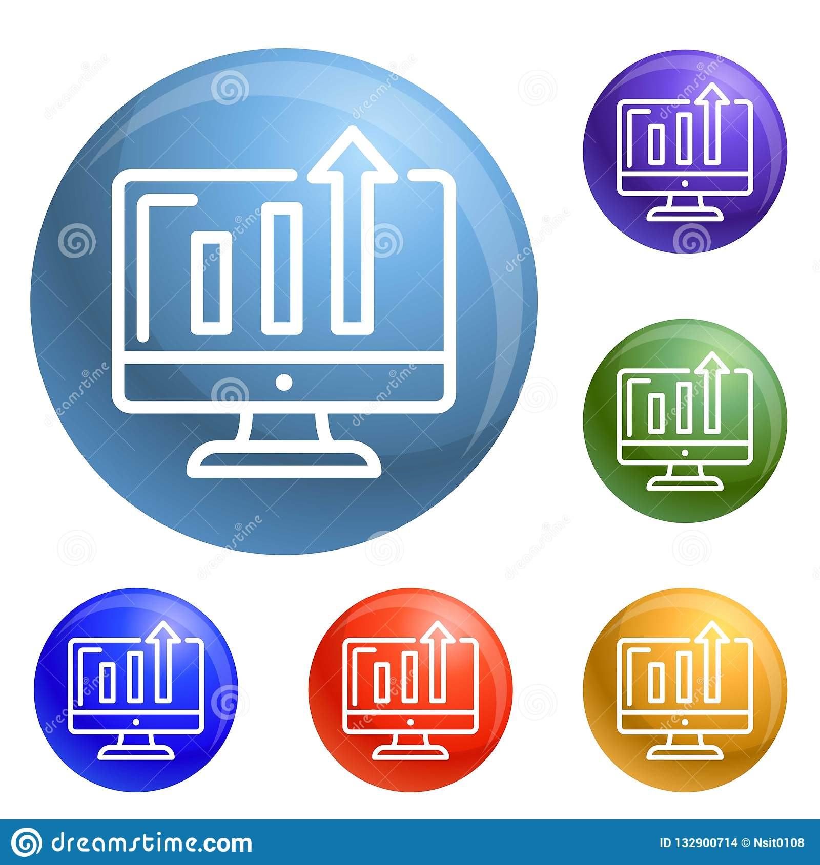 Diagram On Monitor Icons Set Vector Stock Vector