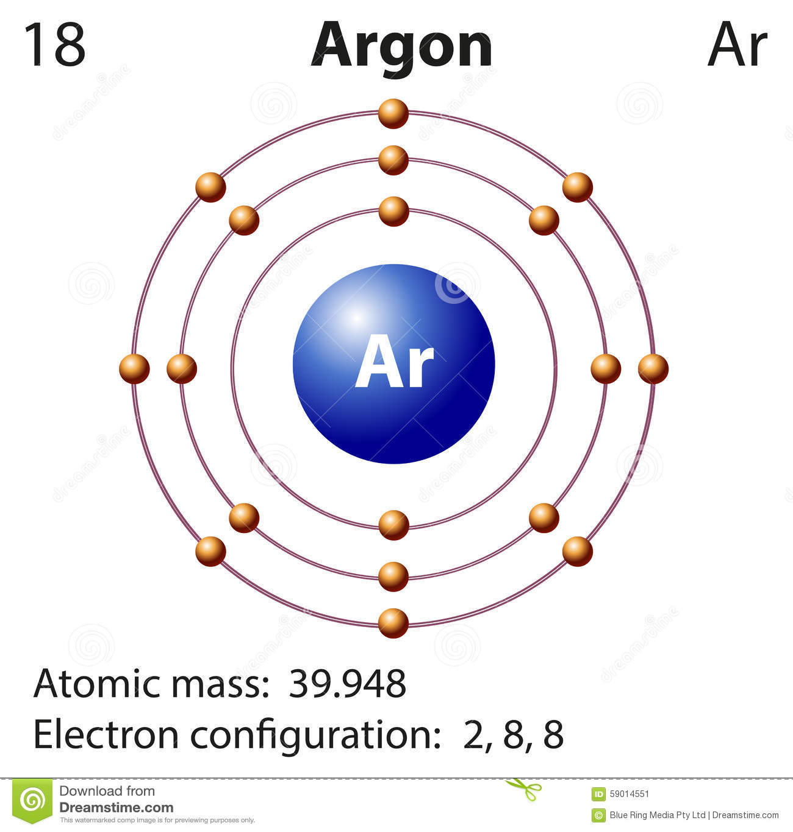Diagram Representation Of The Element Argon Stock Vector