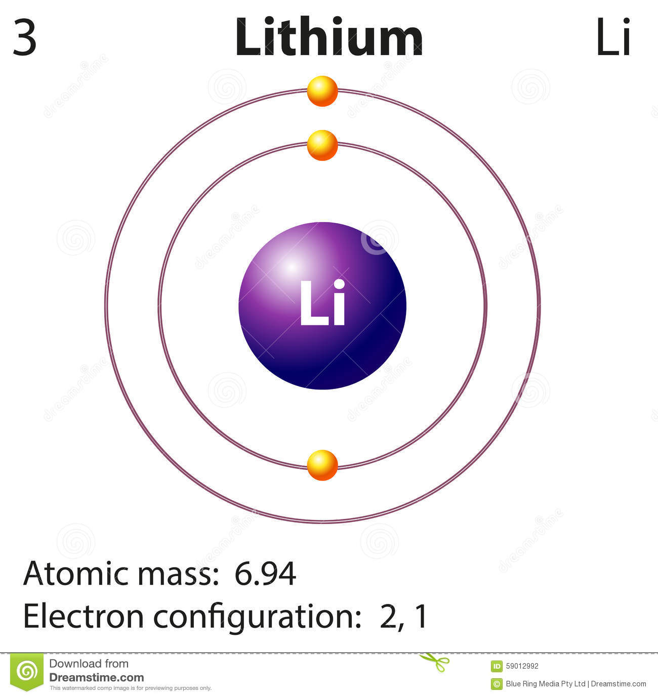 Diagram Representation Of The Element Lithium Stock Vector ...