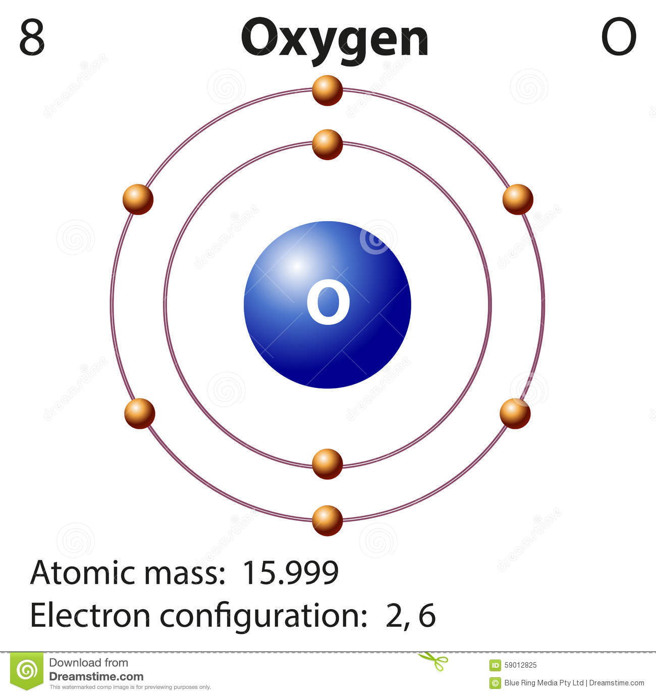 Diagram Representation Of The Element Oxygen Stock Vector - Image ...