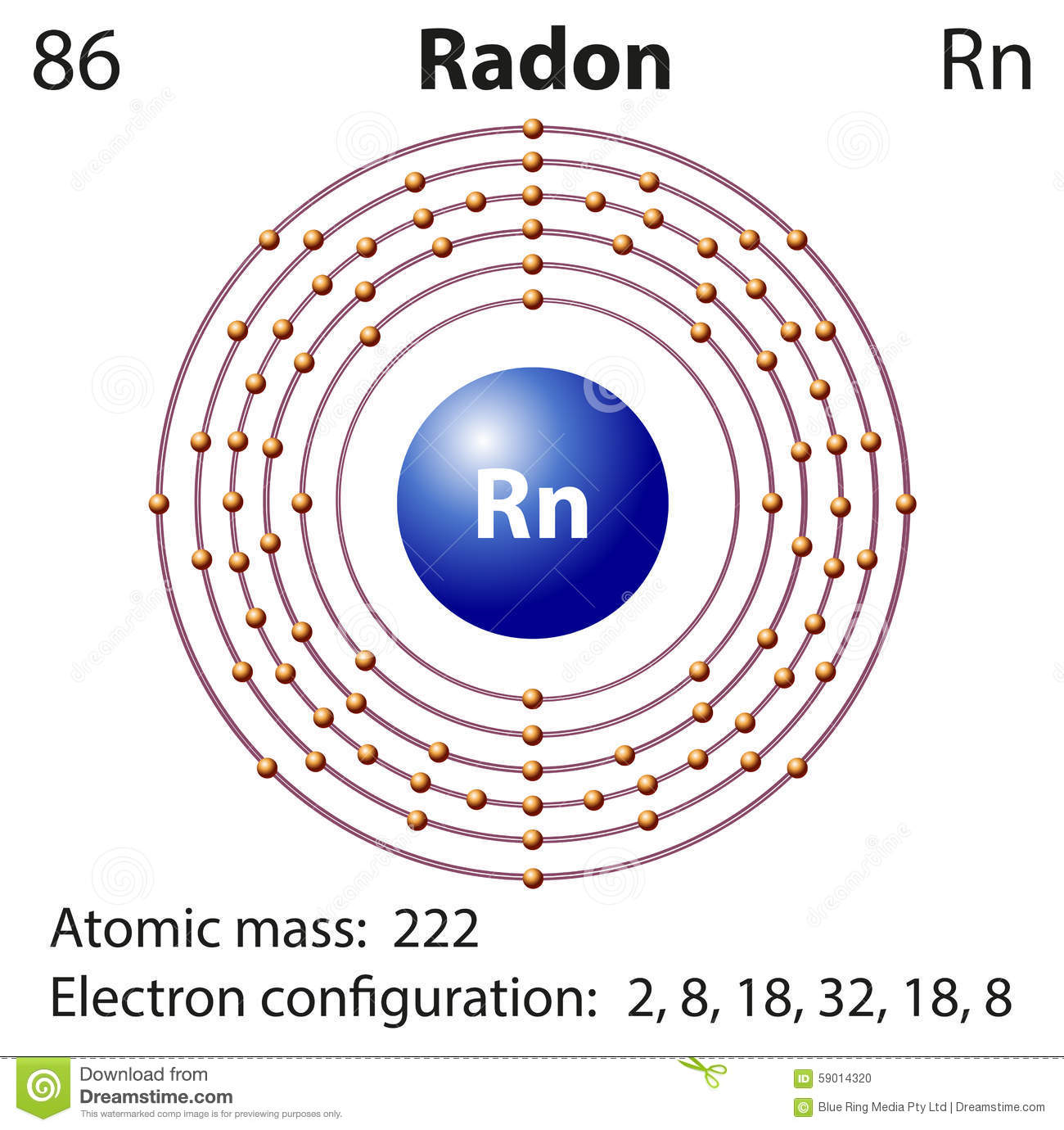 diagram representation element radon illustration 59014320 diagram representation of the element radon stock illustration radian diagram at couponss.co