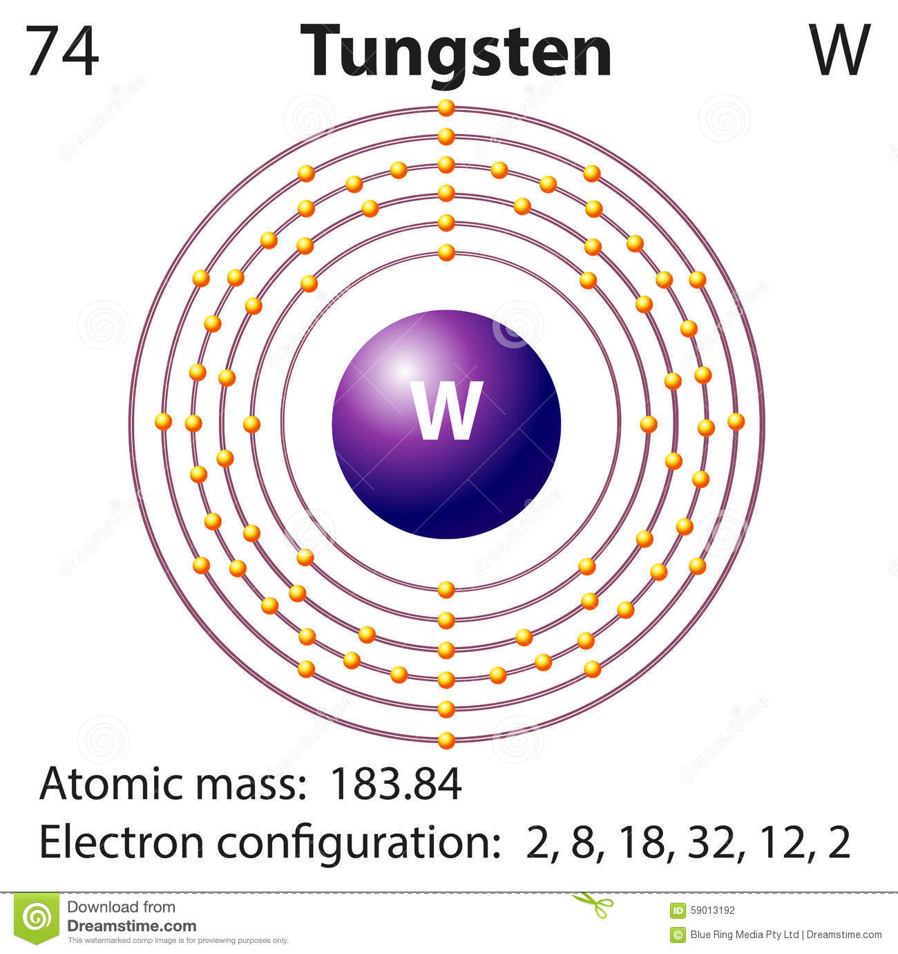 Diagram Representation Of The Element Tungsten Stock Vector