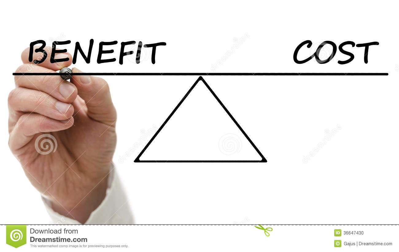 Diagram Of A Seesaw Showing Benefit And Cost Stock Photo Image Of