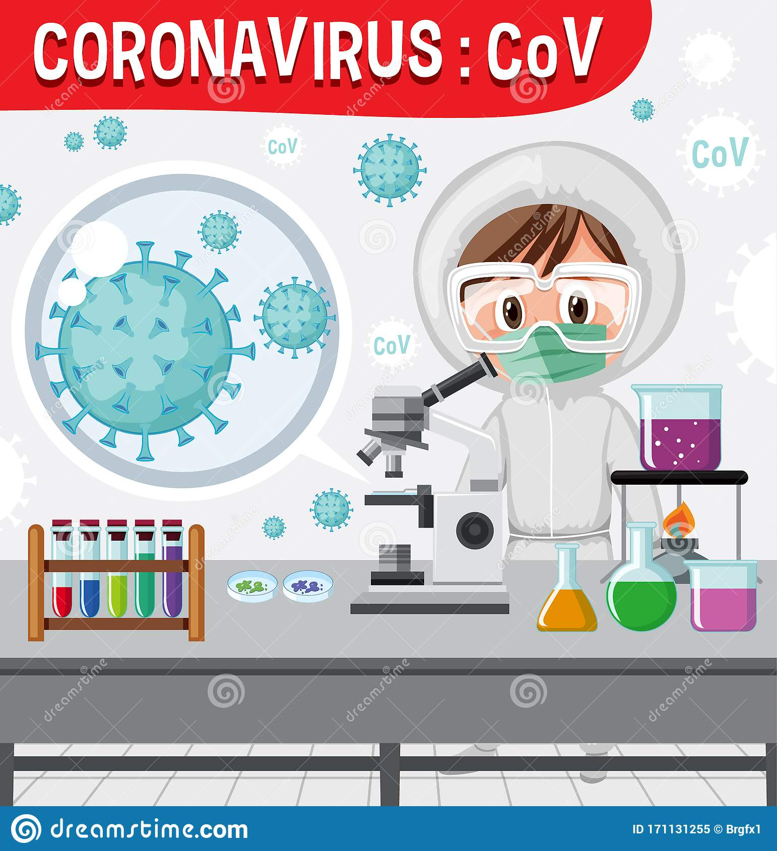 Diagram Of Corona Virus Particle Structure Cartoon Vector