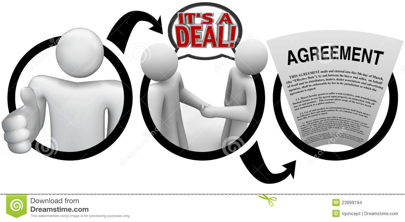 Diagram Steps Meeting Deal Agreement Stock Illustration