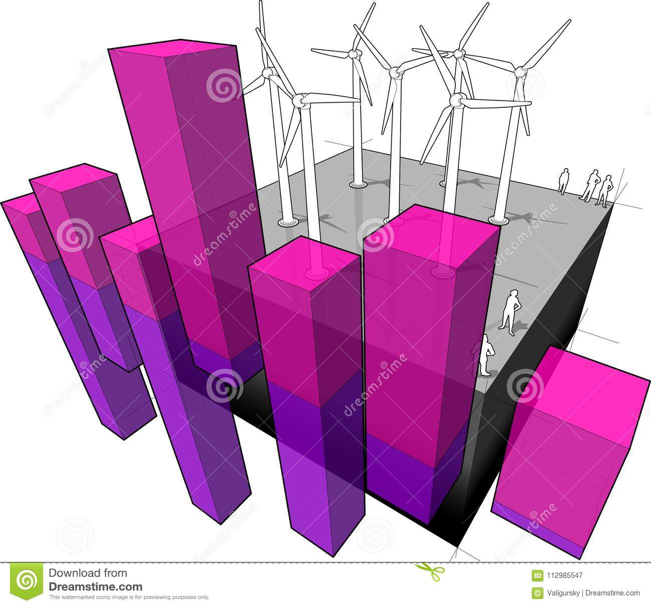 Wind turbines farm and abstract business diagram