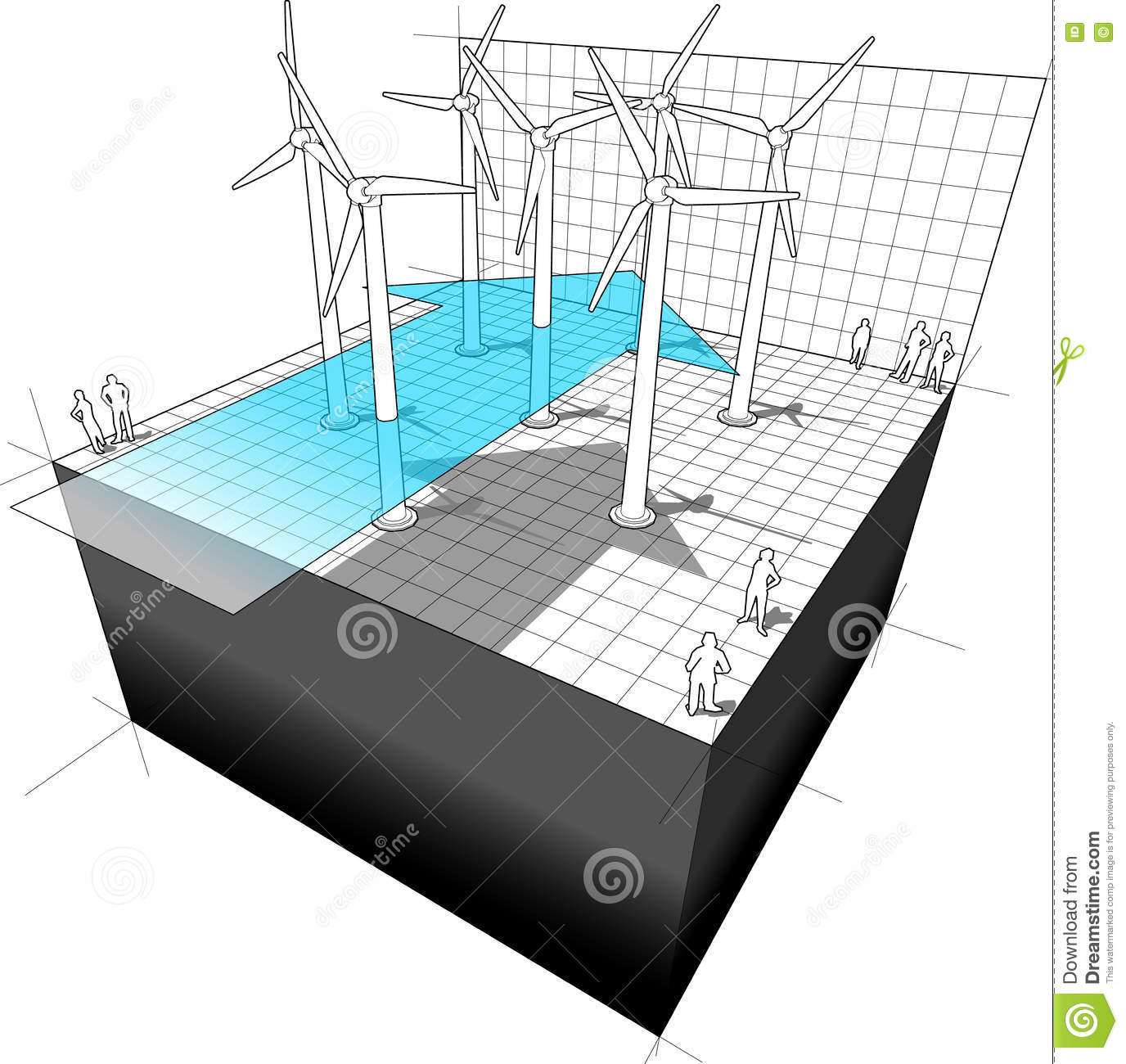 Diagram Of A Wind Turbine Farm With Arrow Stock Vector Turbines