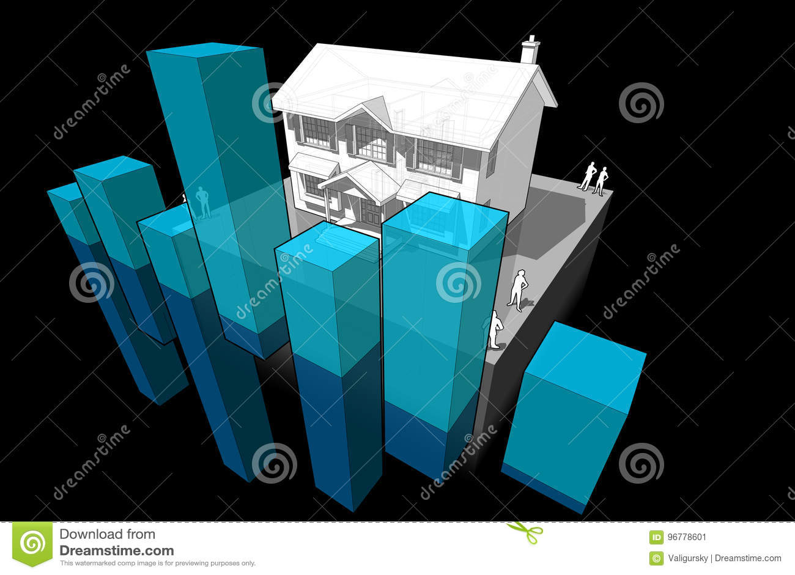 Diagrama colonial da casa e do negócio