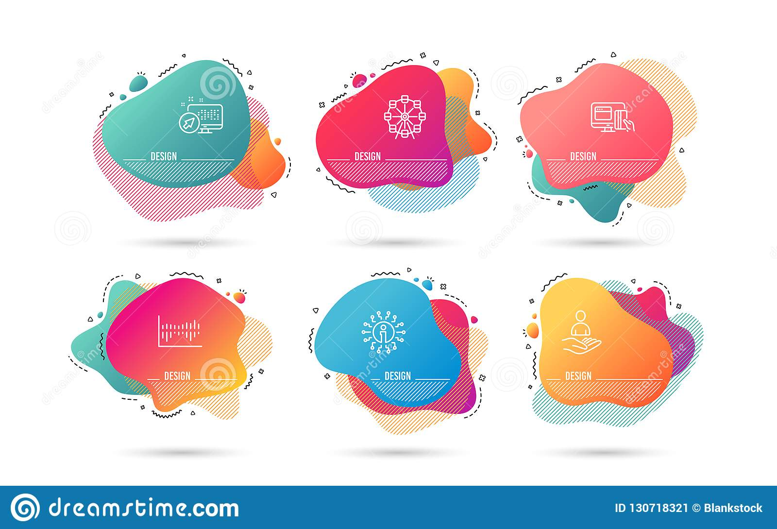 Diagrama de columna, reclutamiento e iconos en línea del pago Muestra de la noria Estadísticas de la venta, hora, dinero Vector