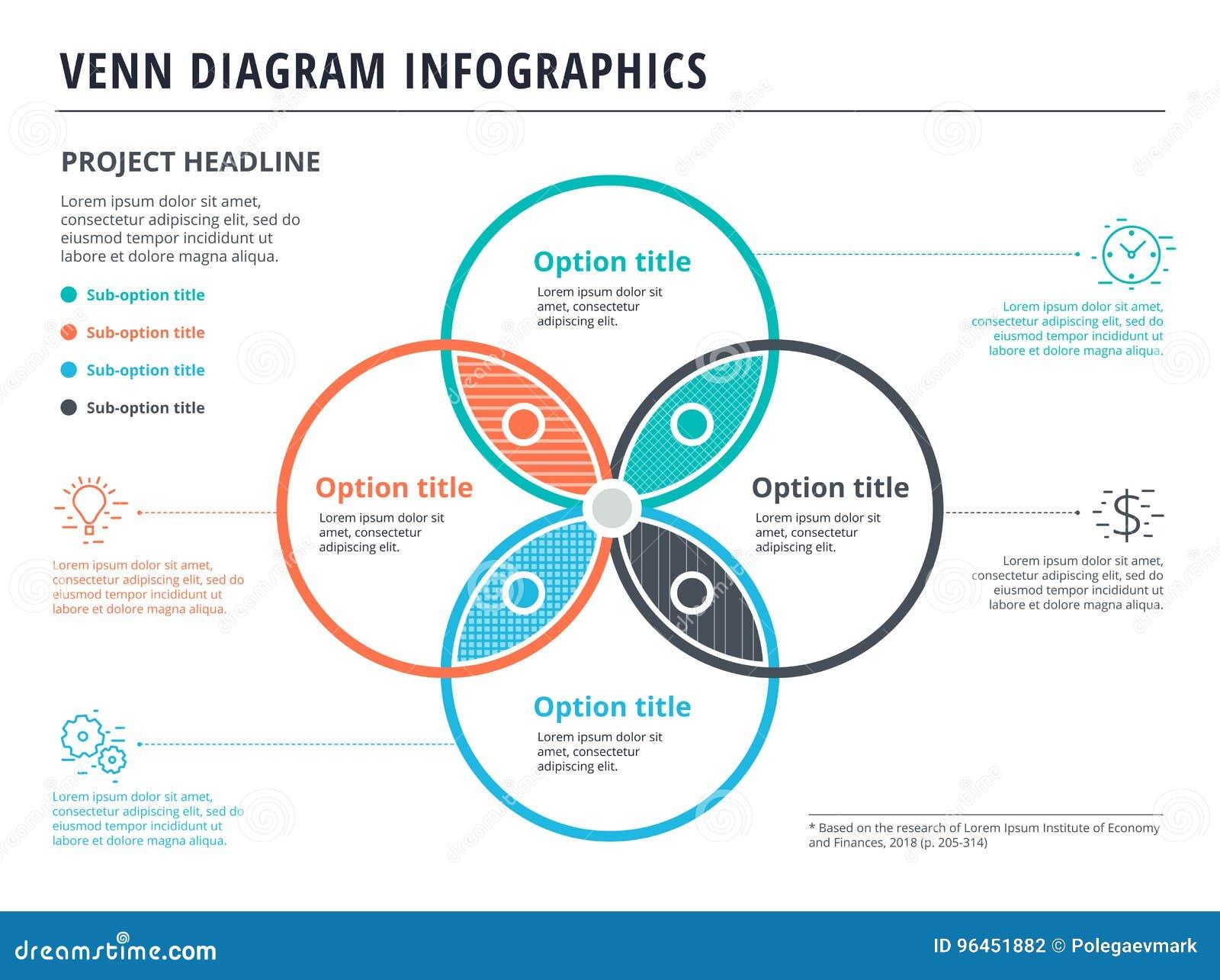 Diagrama De Venn Con Diseño De La Plantilla Del Infographics De 4 ...