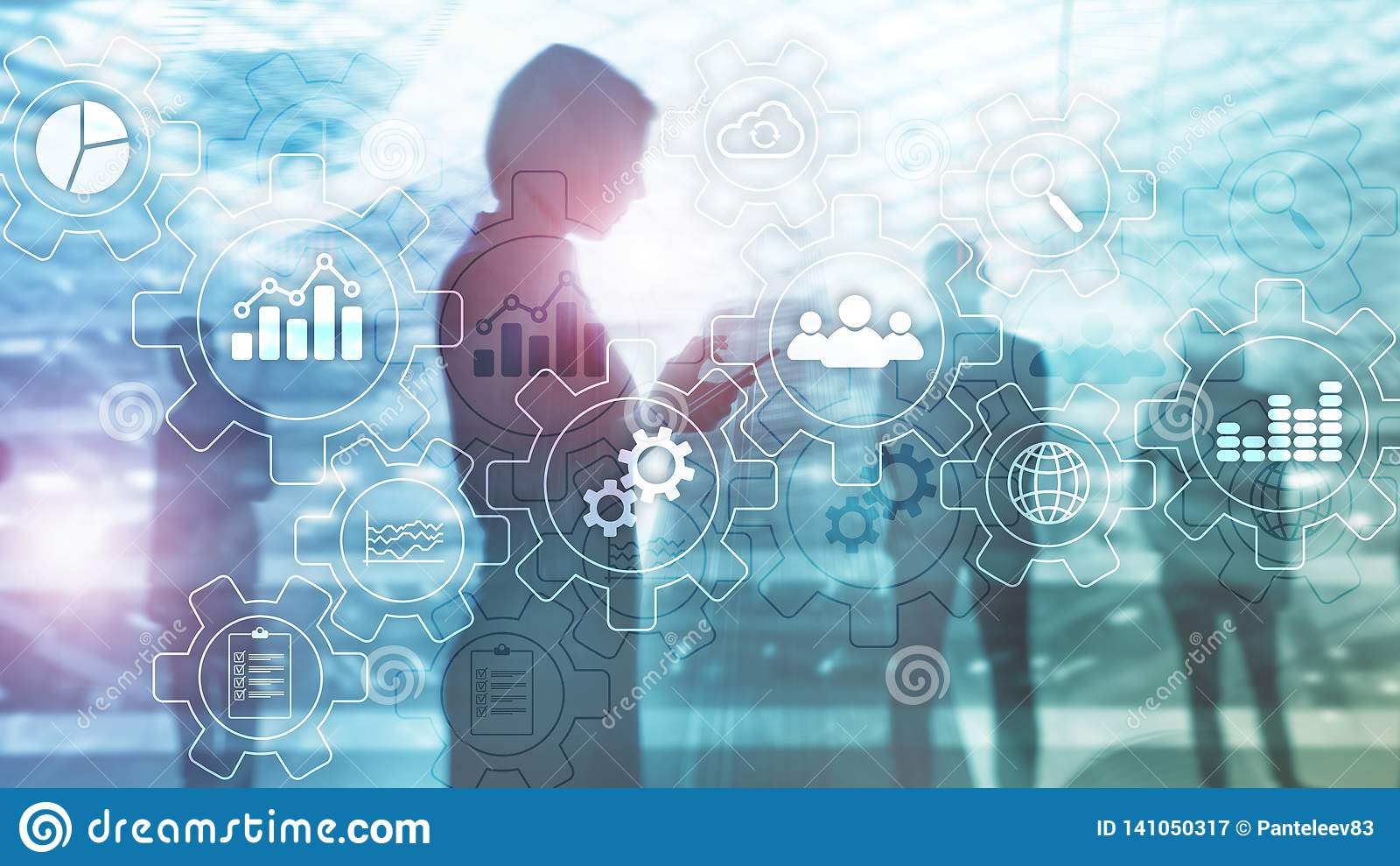Diagrama del extracto del proceso de negocio con los engranajes y los iconos Concepto de la tecnología del flujo de trabajo y de
