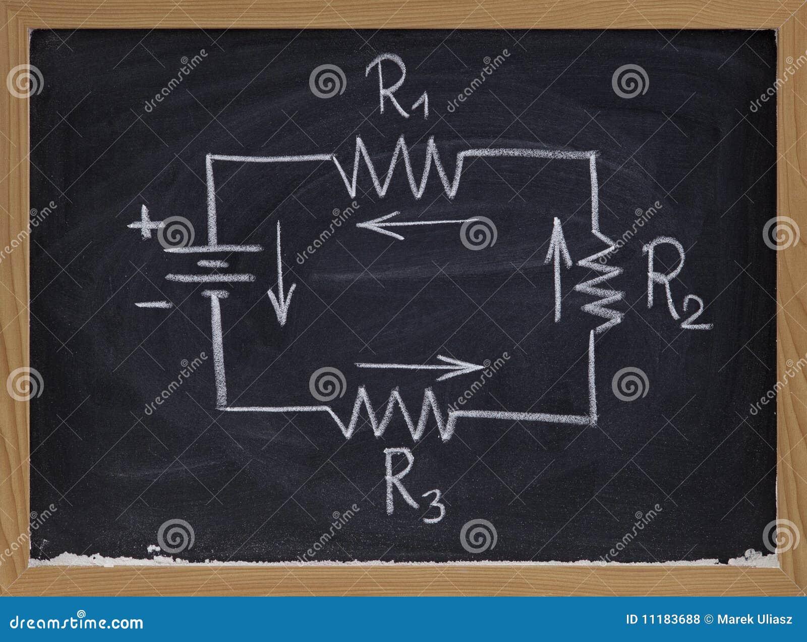 Circuito Electrico Simple Diagrama : Diagrama esquemático del circuito eléctrico en la pizarra foto de