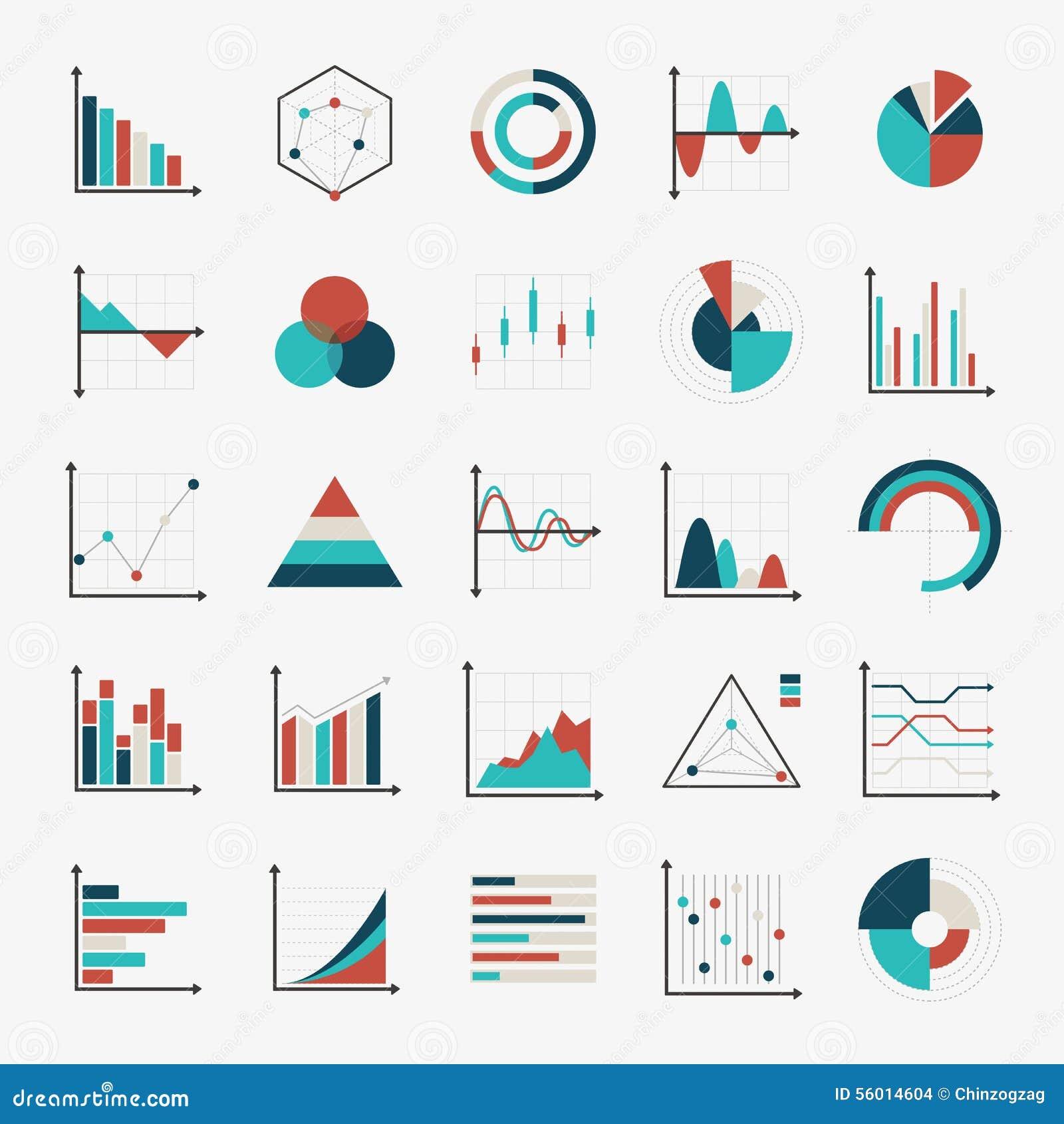Diagramas de cartas e iconos planos de los gráficos