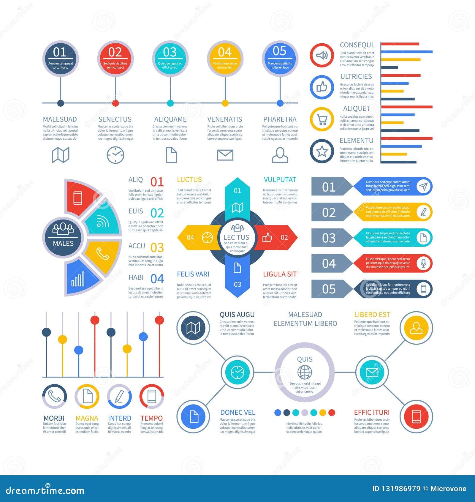 Diagramas de Infographics Elementos de Infochart, carta de comercialización y gráficos, diagrama de la barra Gráfico del planeami