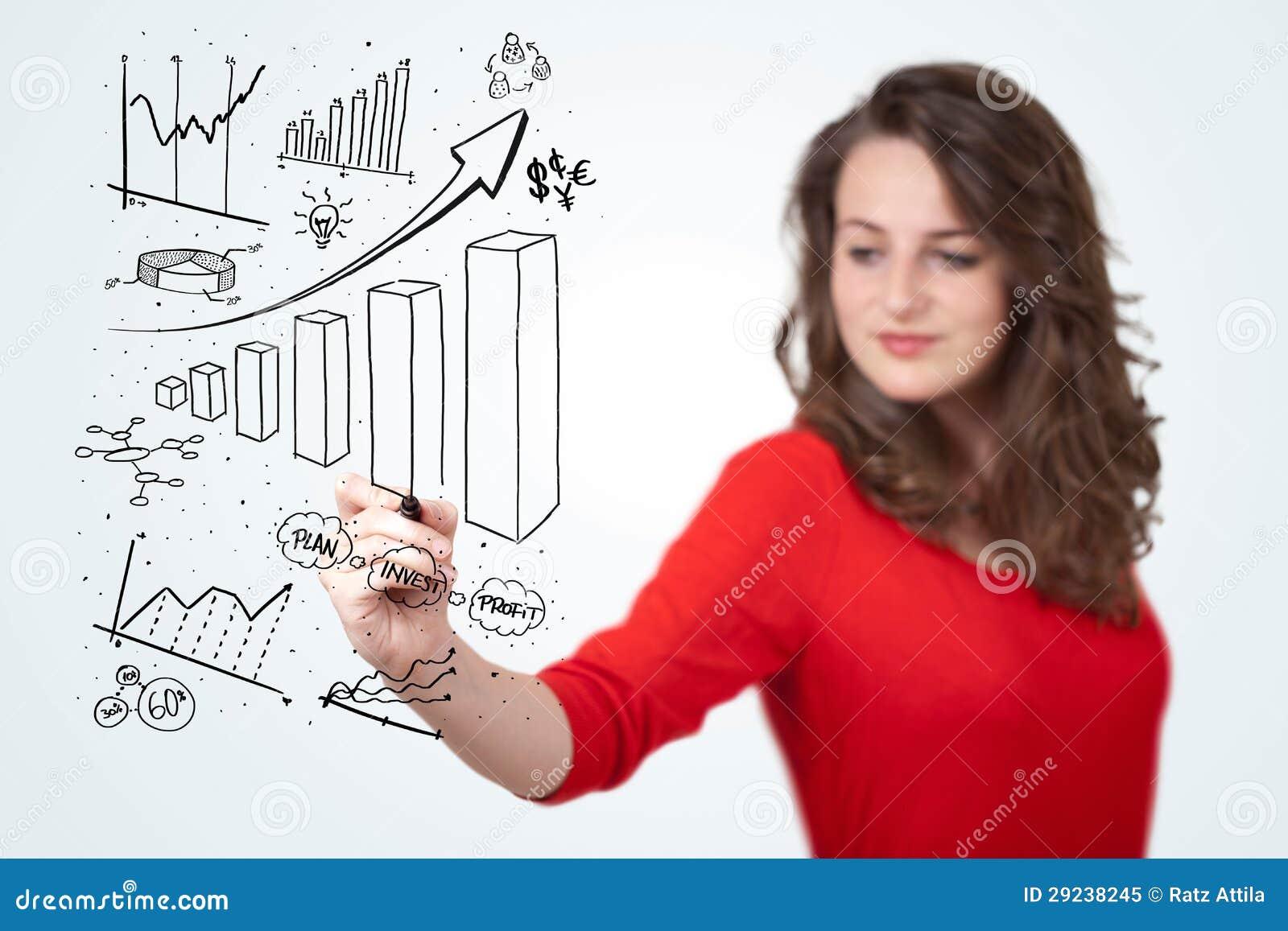Download Diagramas Novos Do Desenho Da Mulher De Negócio No Whiteboard Ilustração Stock - Ilustração de adulto, humano: 29238245