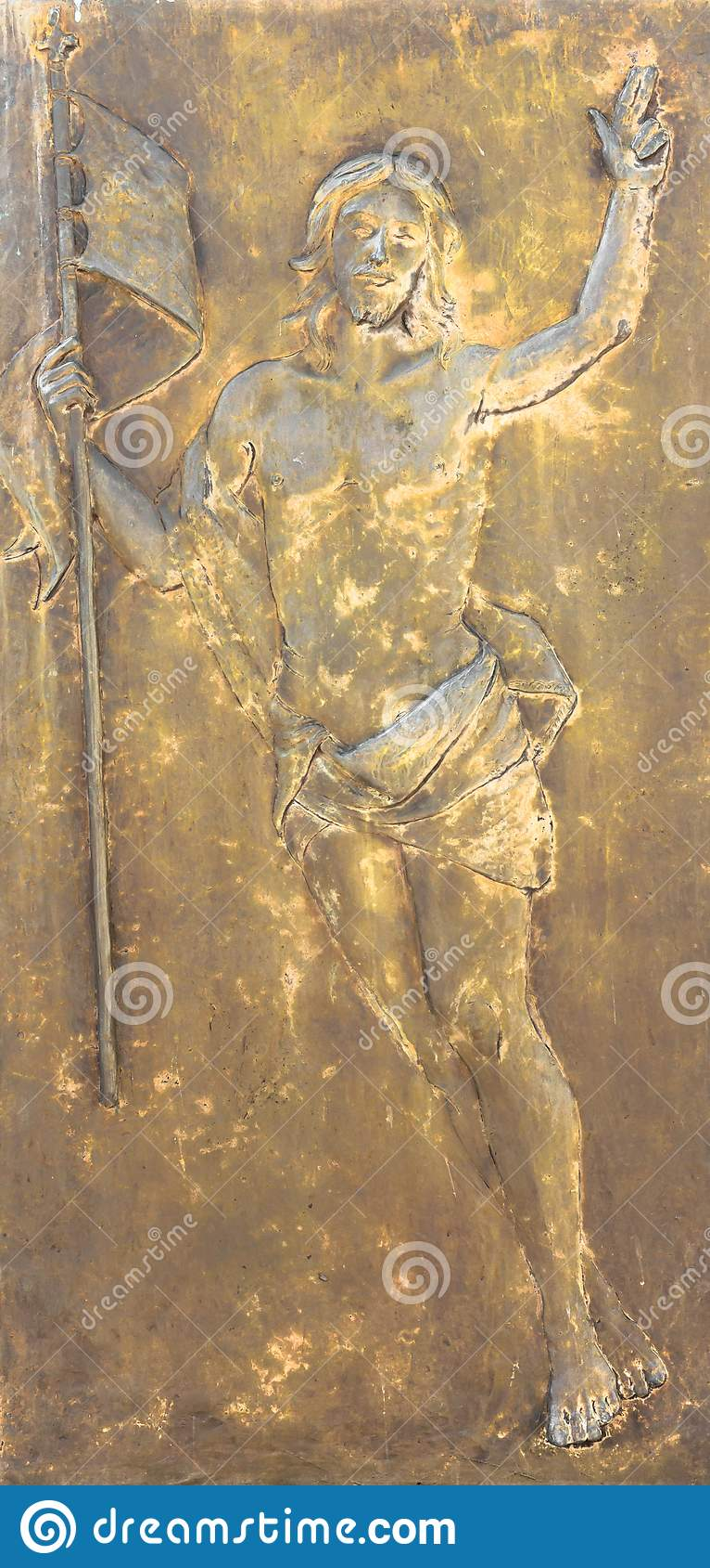 Diagramet av Jesus Christ brons in basrelief