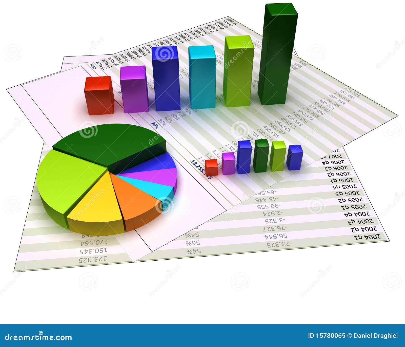 Diagramm auf Finanzdateien und auf Weiß getrennt