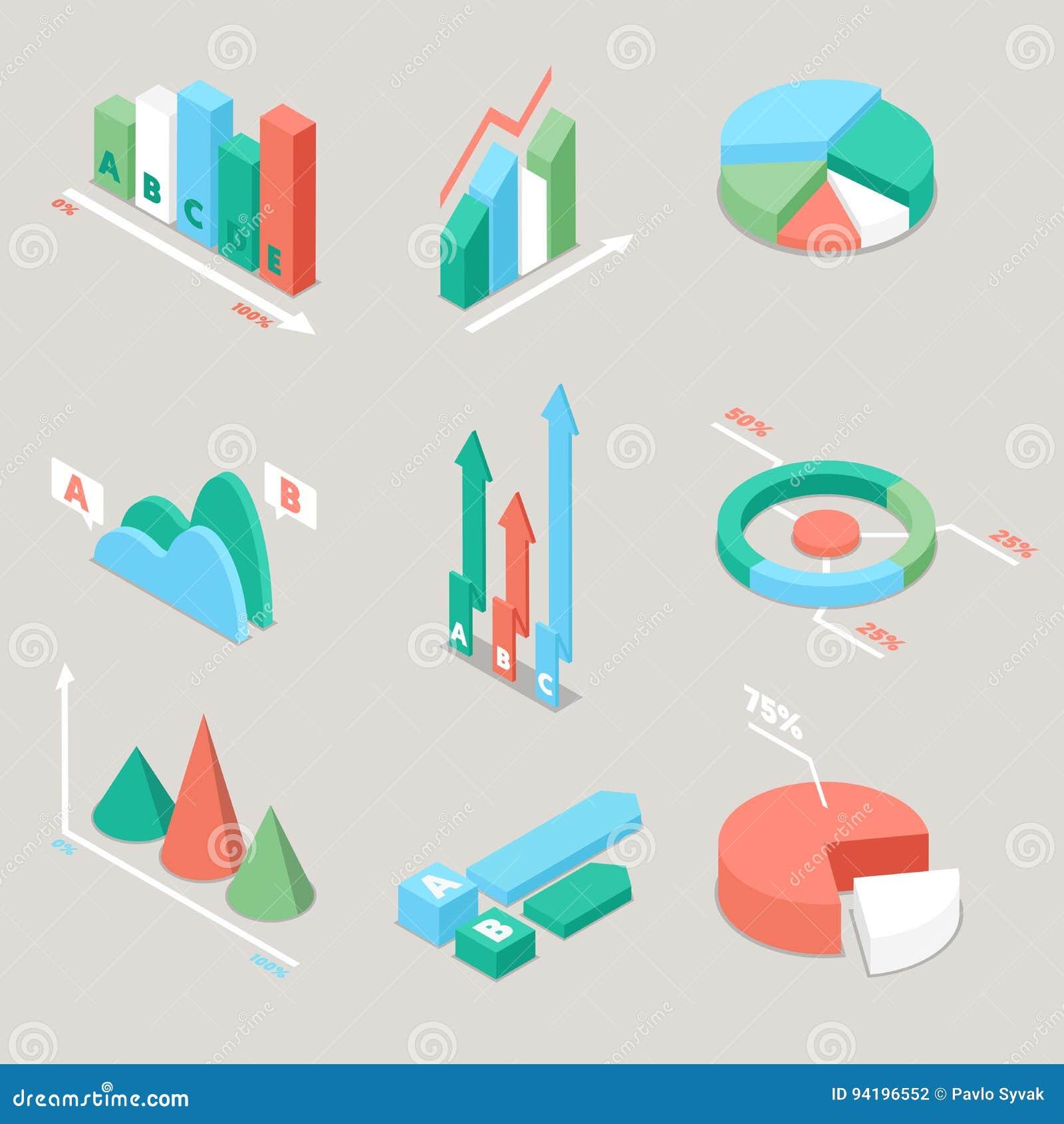 Diagramm-und Diagramm-Statistik-Elemente Finanzanalyse Geschäft Analytics