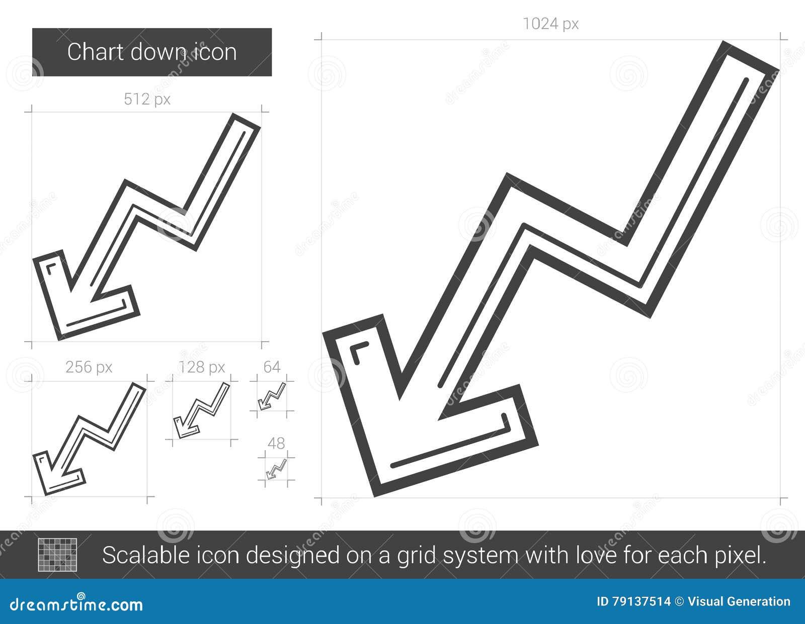 Diagramm Zeichnen Unten Ikone Vektor Abbildung - Illustration von ...