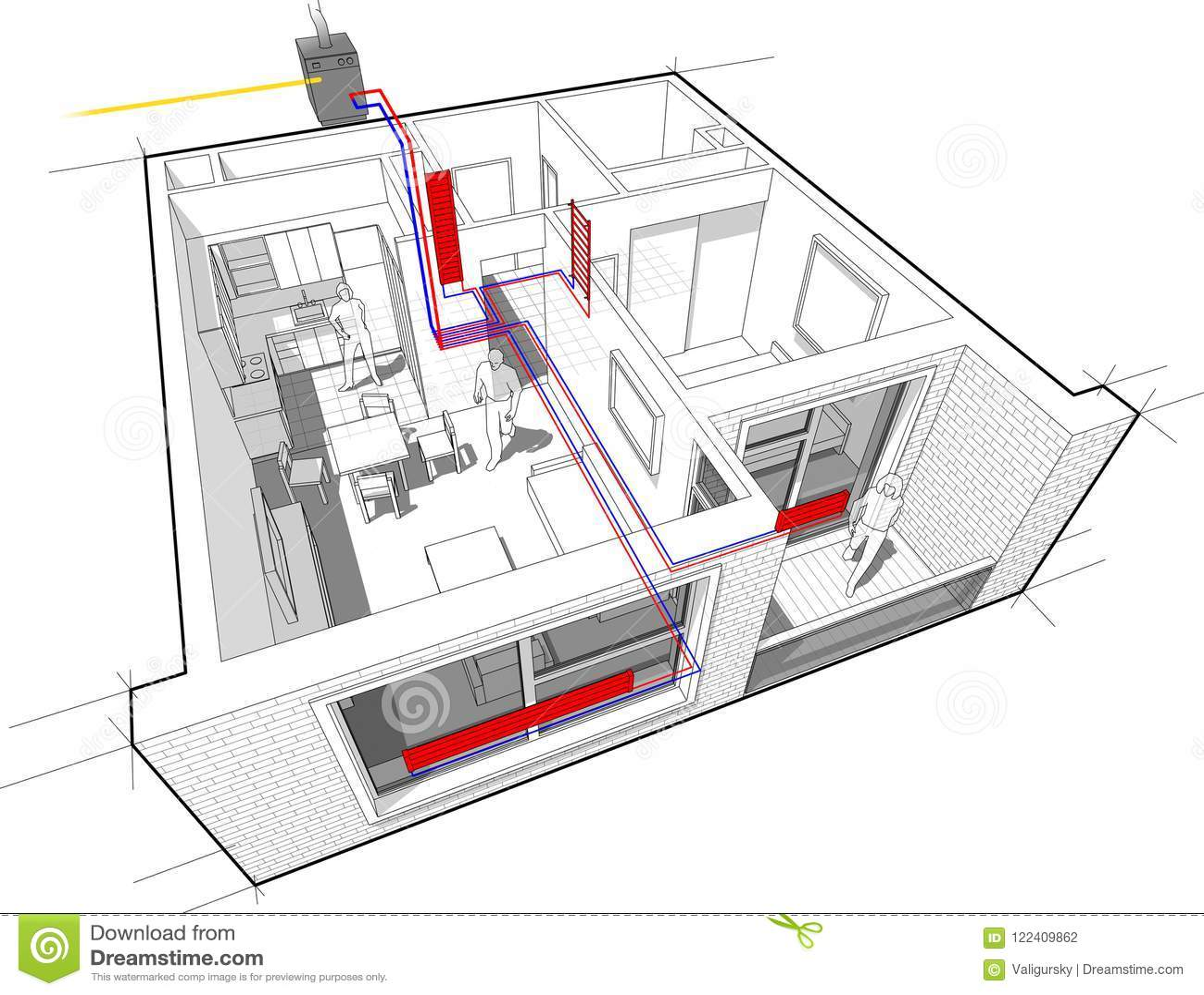 Riscaldare Camera Da Letto diagramma dell'appartamento con il riscaldamento del