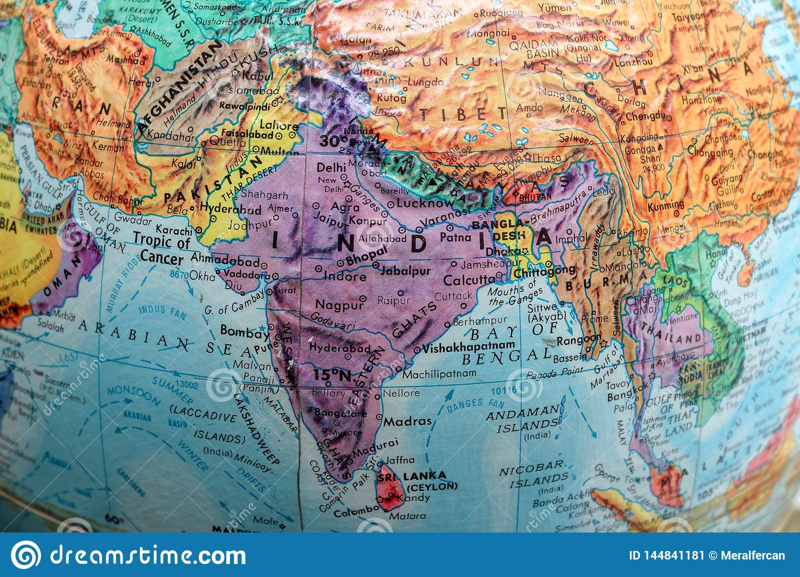 Old Print Map,terrestrial Globe, Asia Stock Image - Image of ...