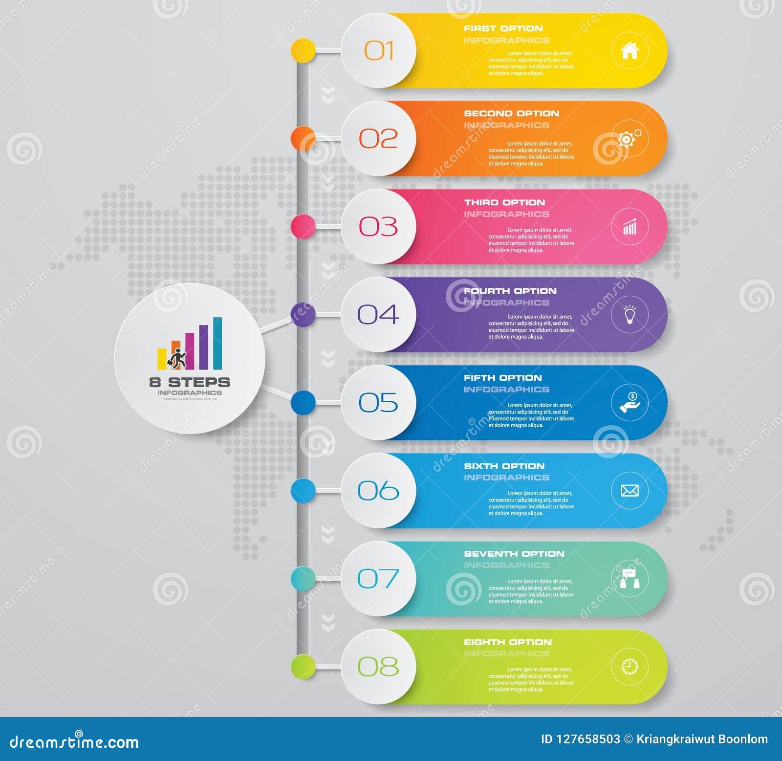 Diagramme d élément d Infographics de 8 étapes pour la présentation ENV 10
