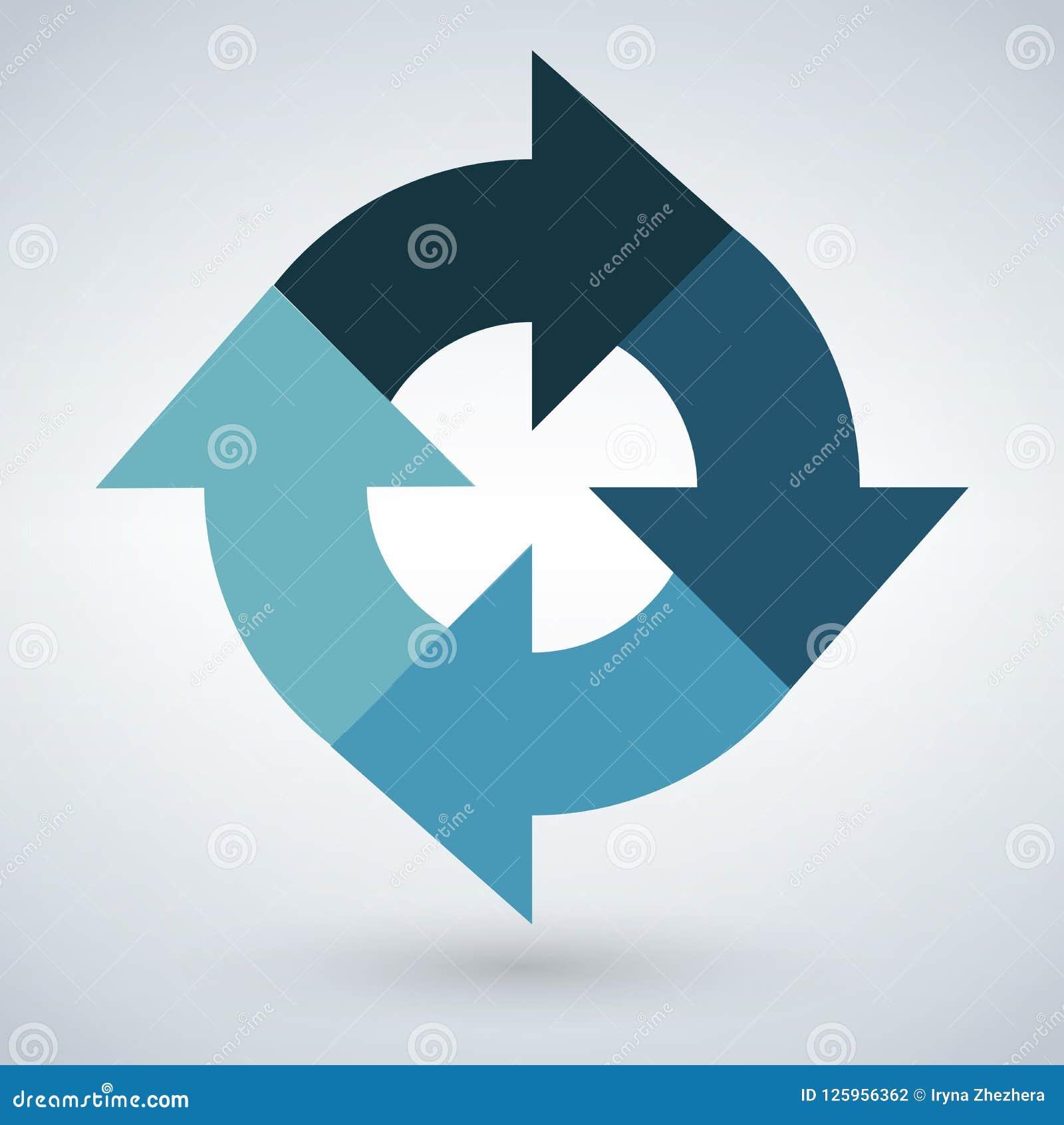 Diagramme infographic rond de vecteur Diagramme relié par circulaire avec 4 options Étapes de papier de progrès pour le cours ave