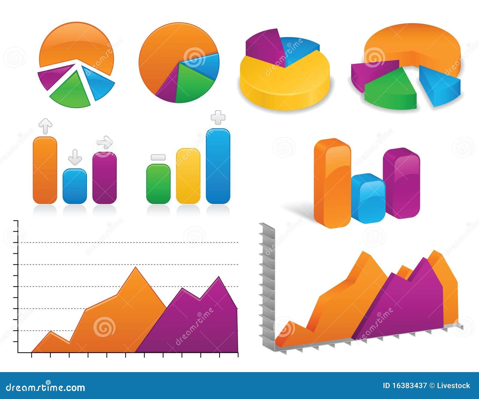 Diagramme Arten Arbeitsblatt : Diagramme und diagramm ansammlung vektor abbildung