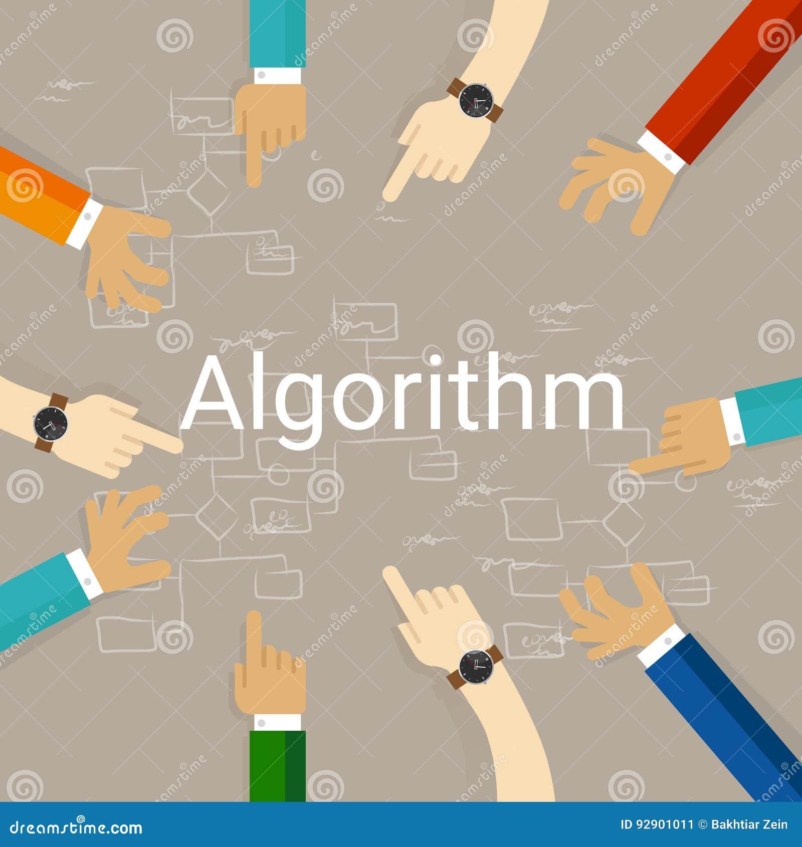 Diagrammet för flöde för algoritmproblemlösning räcker arbete tillsammans som ett lag