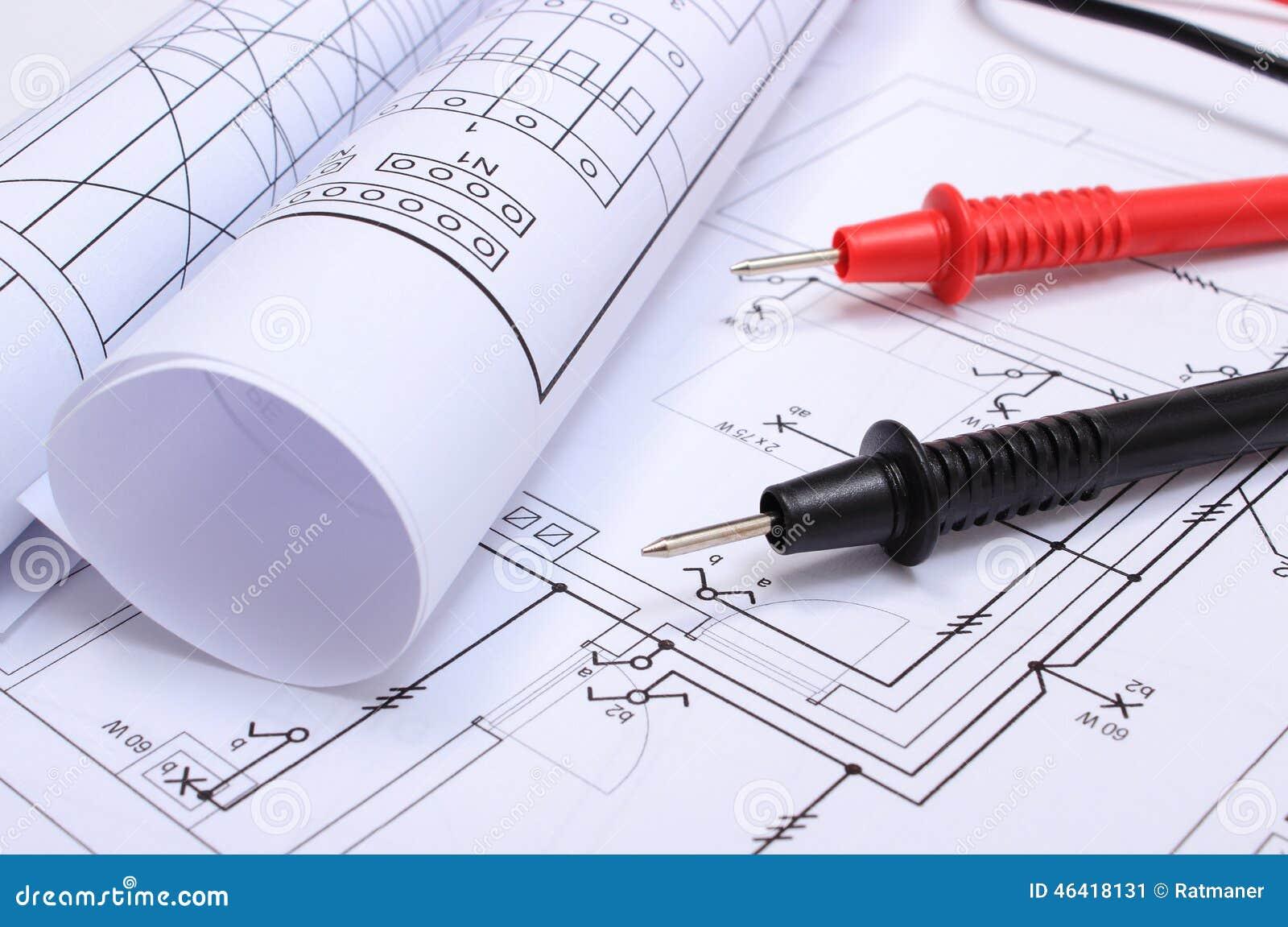 Schemi Elettrici Casa : Diagrammi e cavi elettrici rotolati del multimetro sul disegno