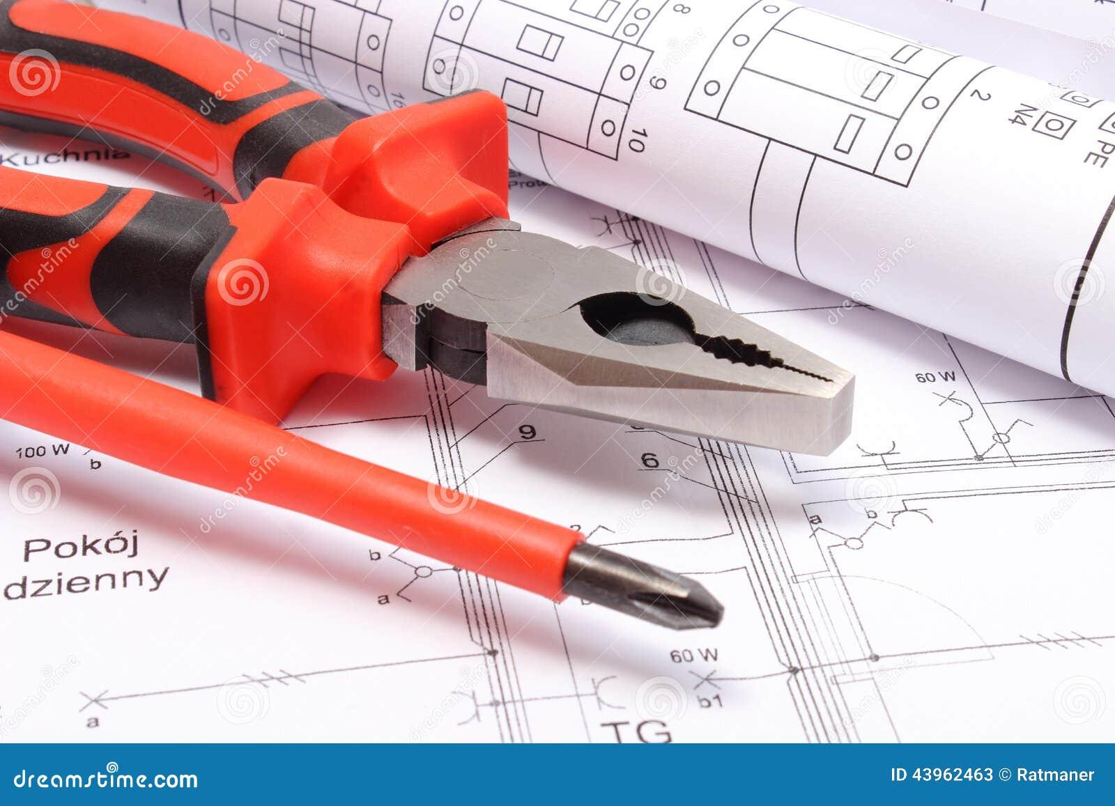 Schemi Elettrici Casa : Diagrammi e strumenti elettrici rotolati del lavoro sul disegno di