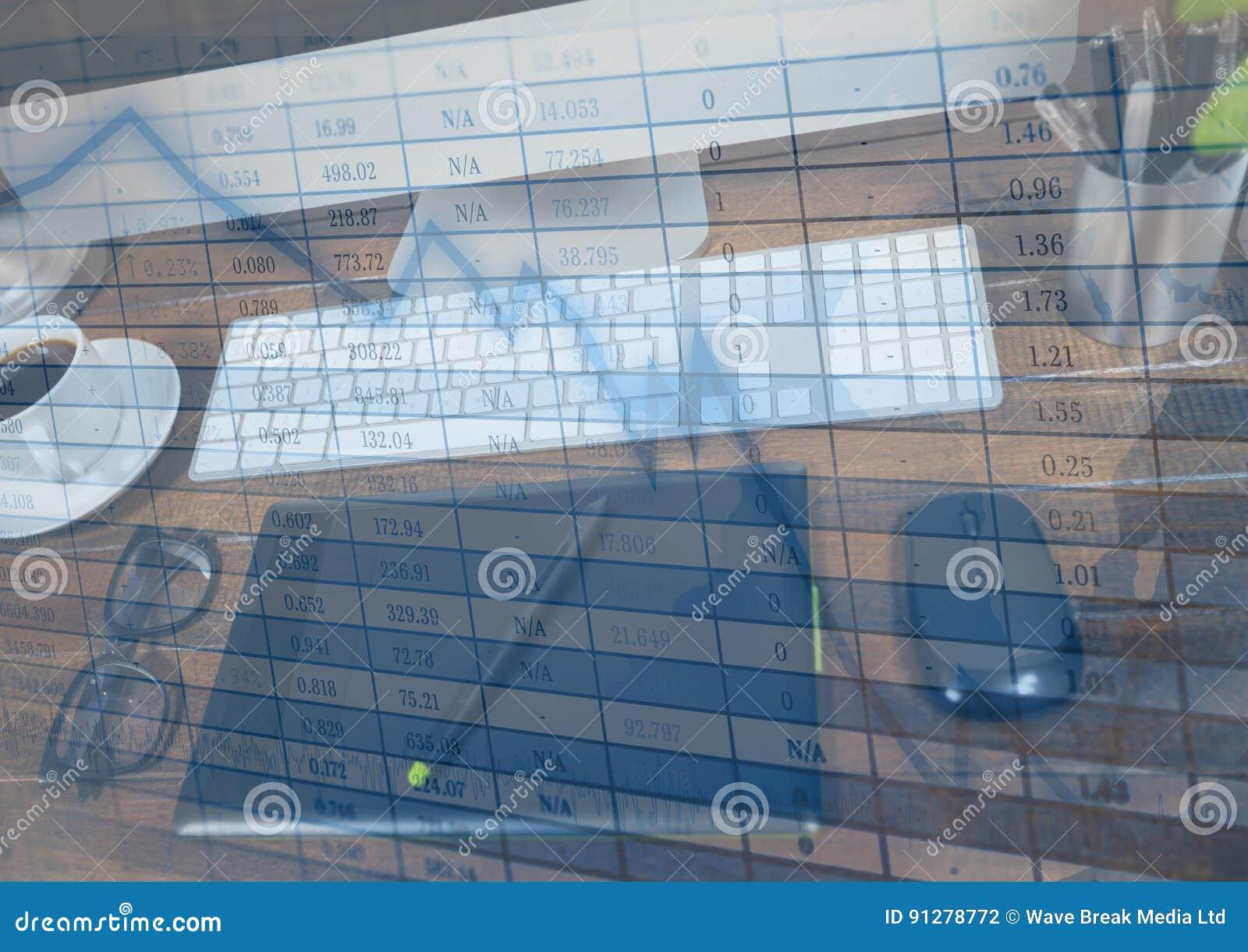 Diagramminnestavla på datoren och blåttgrafsamkopieringen