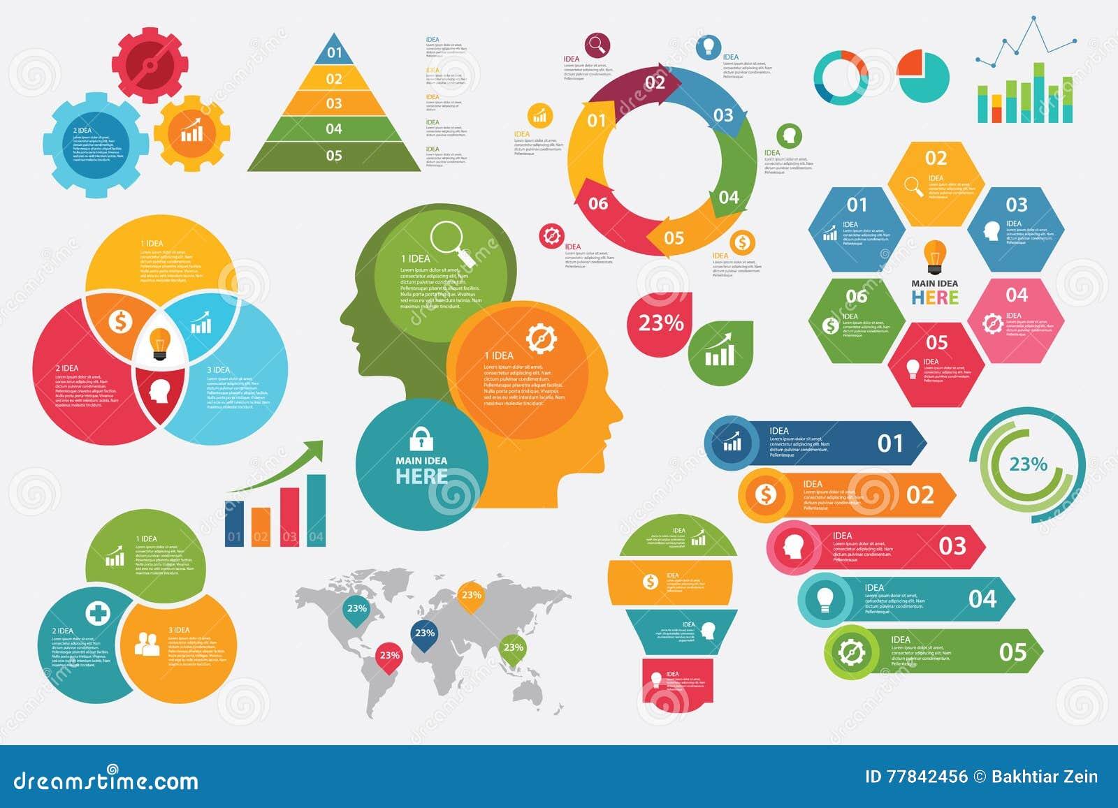 Diagrammpfeilschritt-Sammlungselemente des grafischen Vektors der Informationen gesetzte