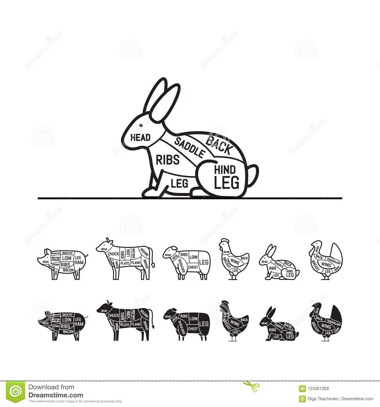 Diagrams For Butcher Shop Rabbit Meat Cuts Animal Silhouette Chicken Diagram Stock Vector Royalty Free