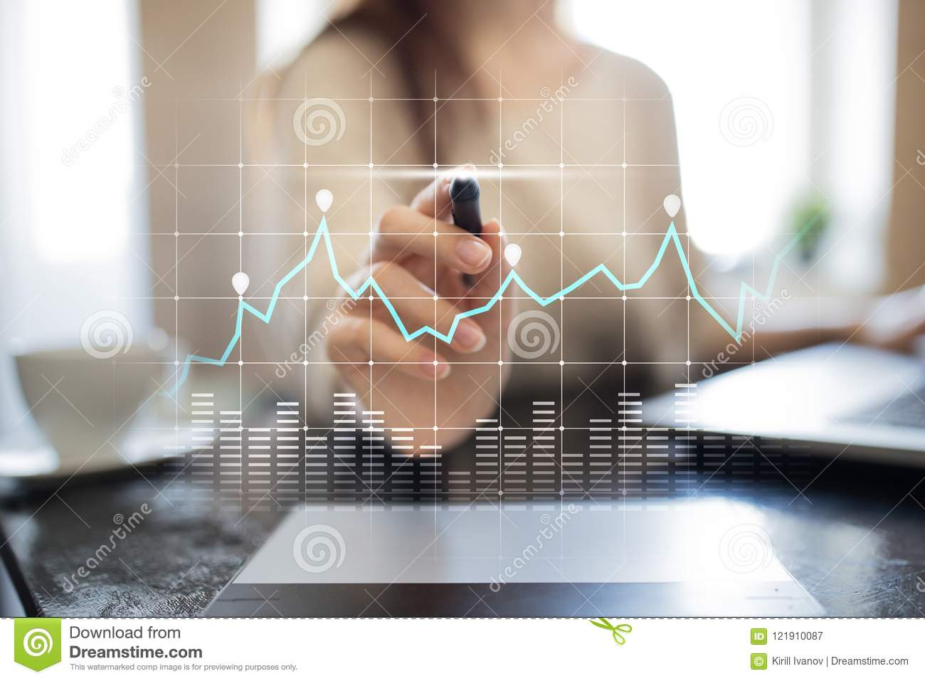 Diagrams and graphs on virtual screen. Business strategy, data analysis technology and financial growth concept.