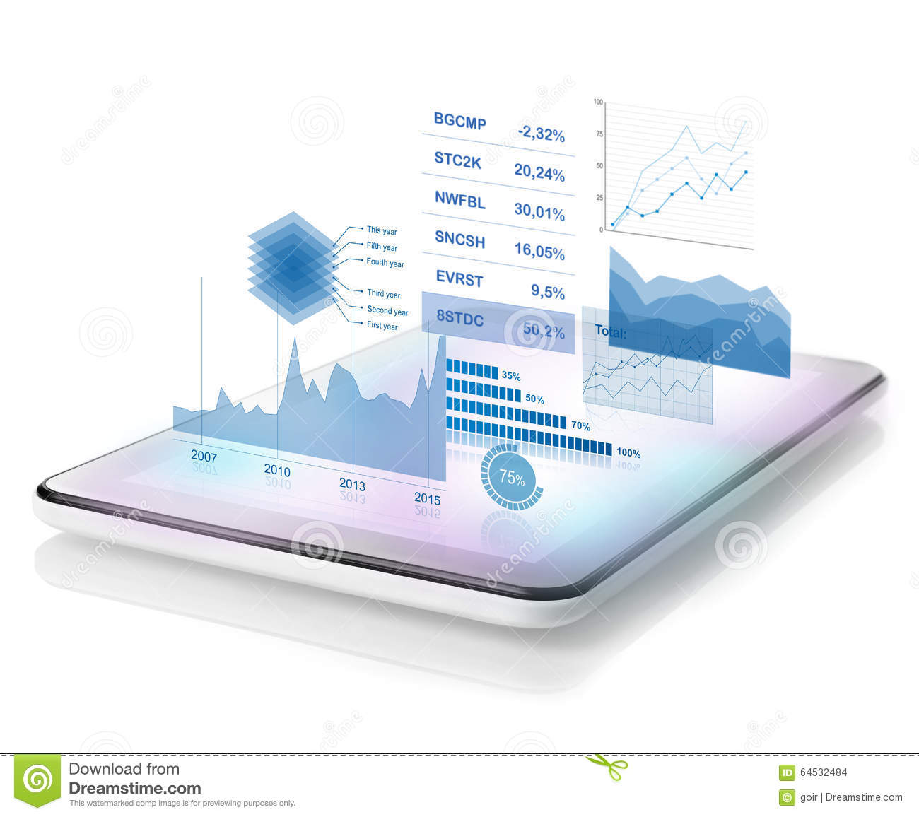diagrams projecting tablet isolated white 64532484 diagrams projecting from tablet stock illustration illustration of