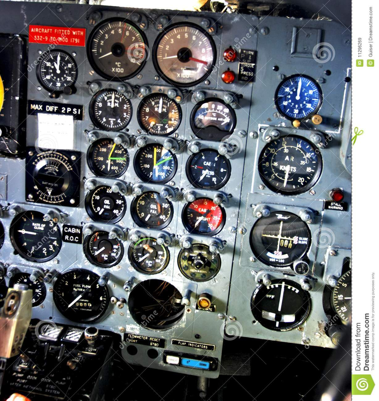 Dial Gauges On Aircraft Control Panel Royalty Free Stock