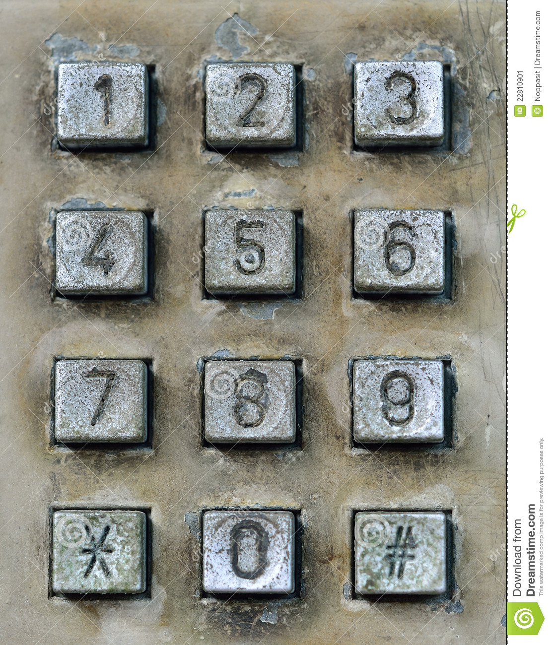 Dial Pad Of Public Telephone Box Stock Image - Image: 22810901