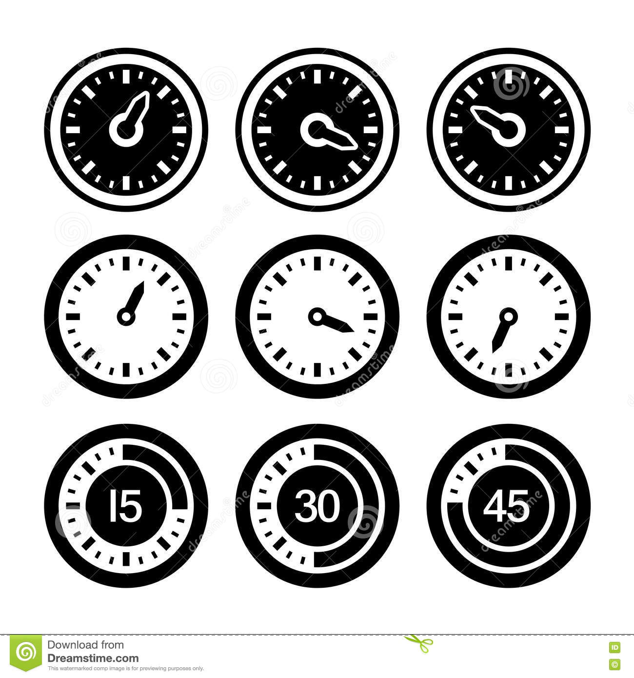 set of simple timers  cartoon vector
