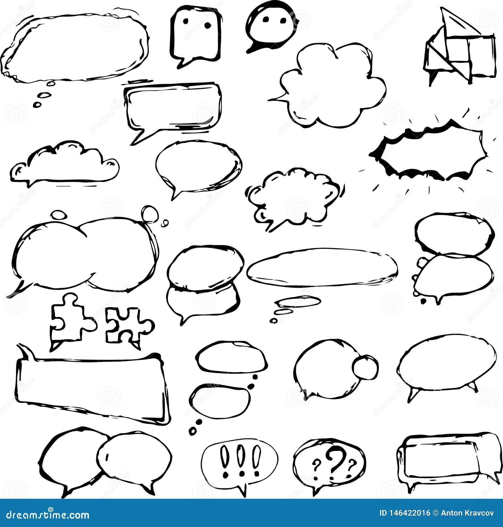 Dialogfelder und Ballone in den verschiedenen Formen