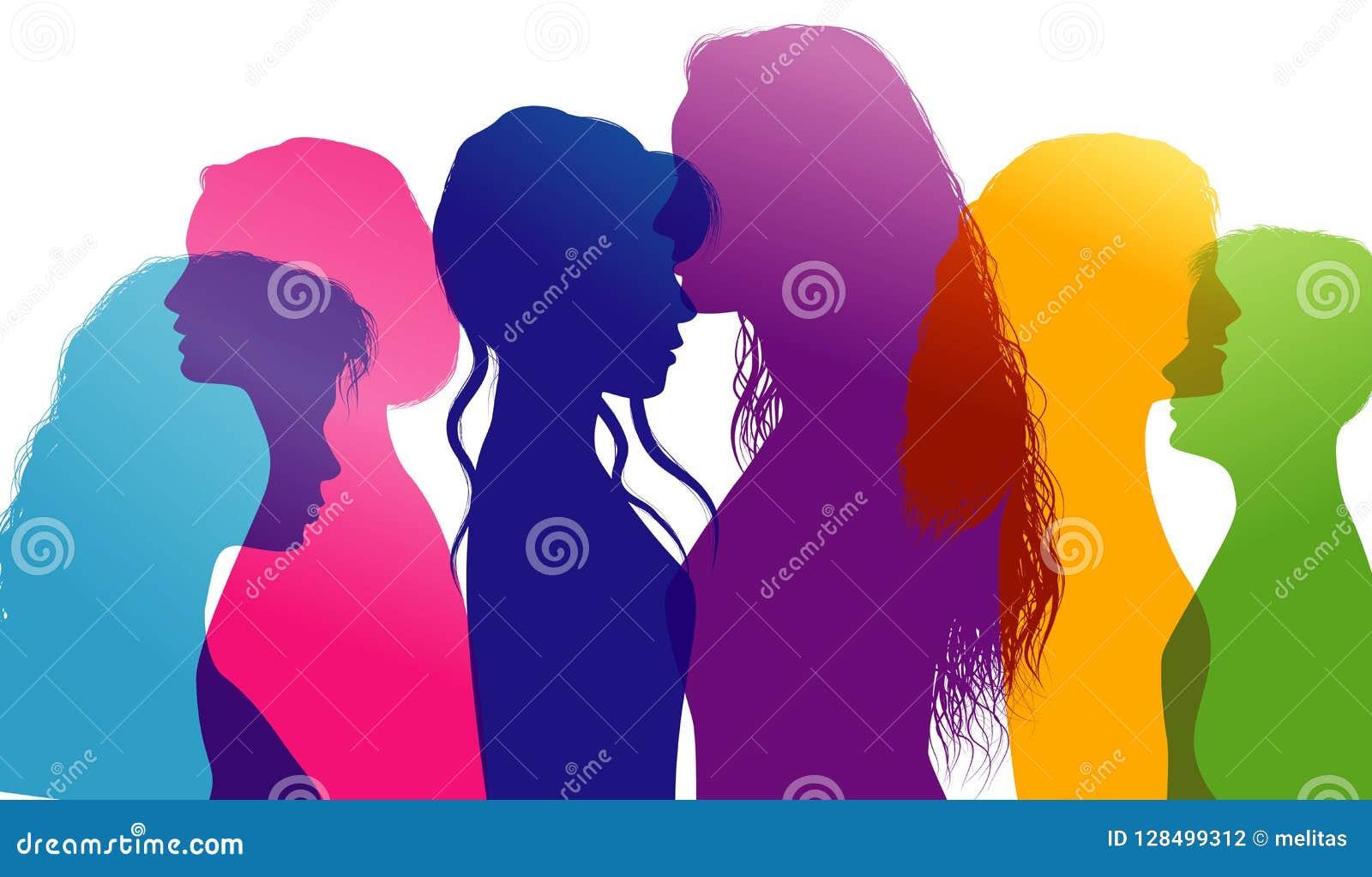 Dialogo fra le donne Conversazione delle donne Conversazione fra le donne Profili colorati della siluetta Esposizione multipla