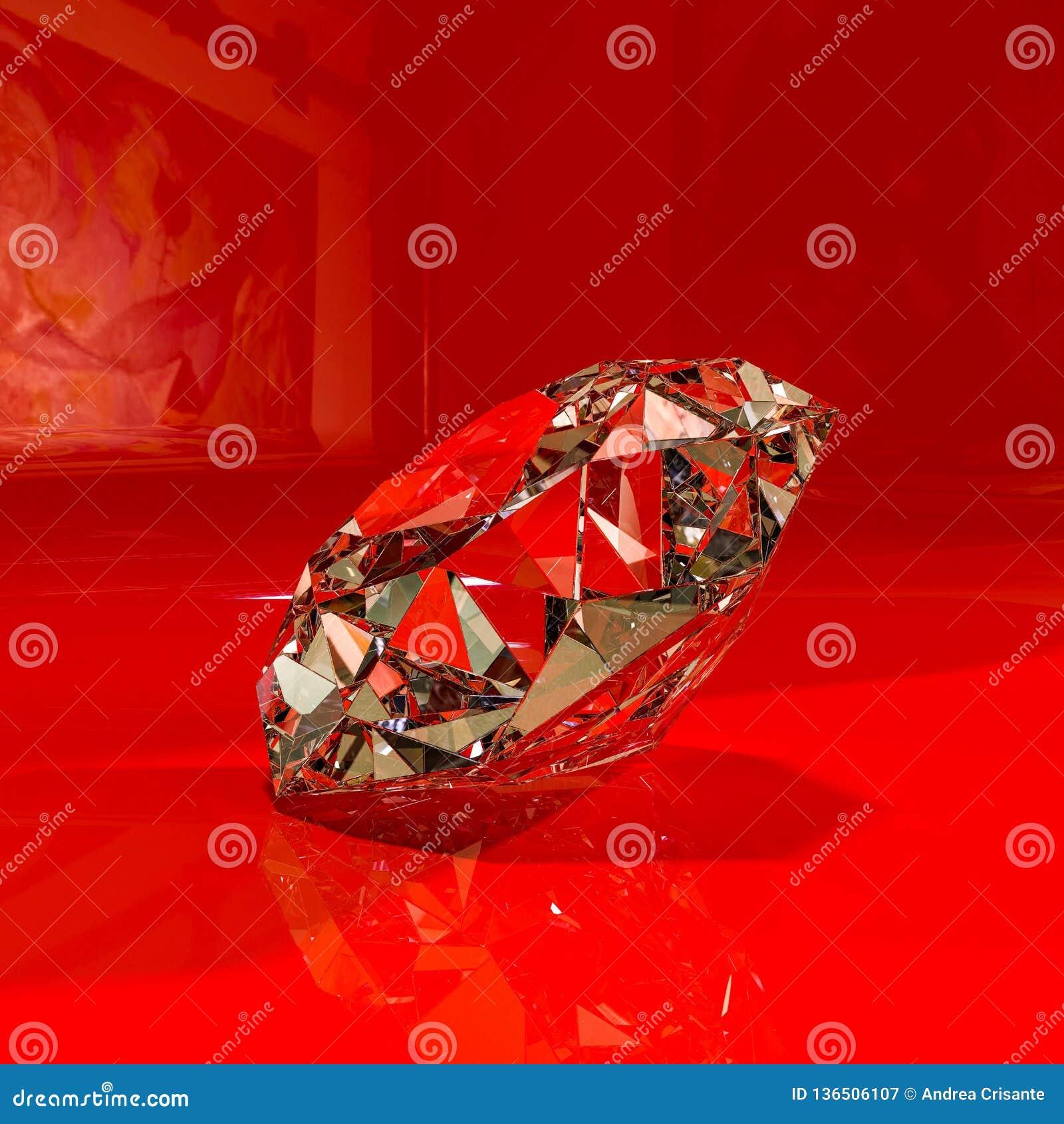 Diamant énorme sur un expositor brillant rouge
