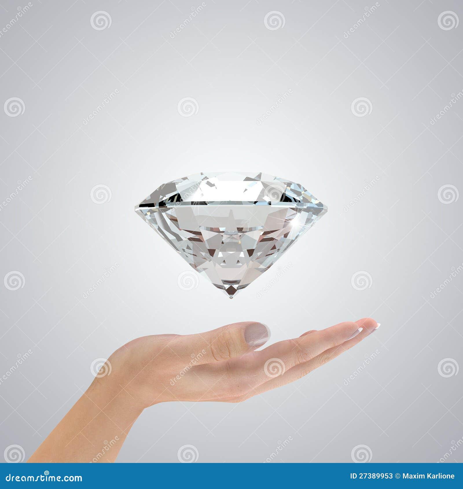 Diamant in den Händen stockbild. Bild von hände, diamant - 27389953