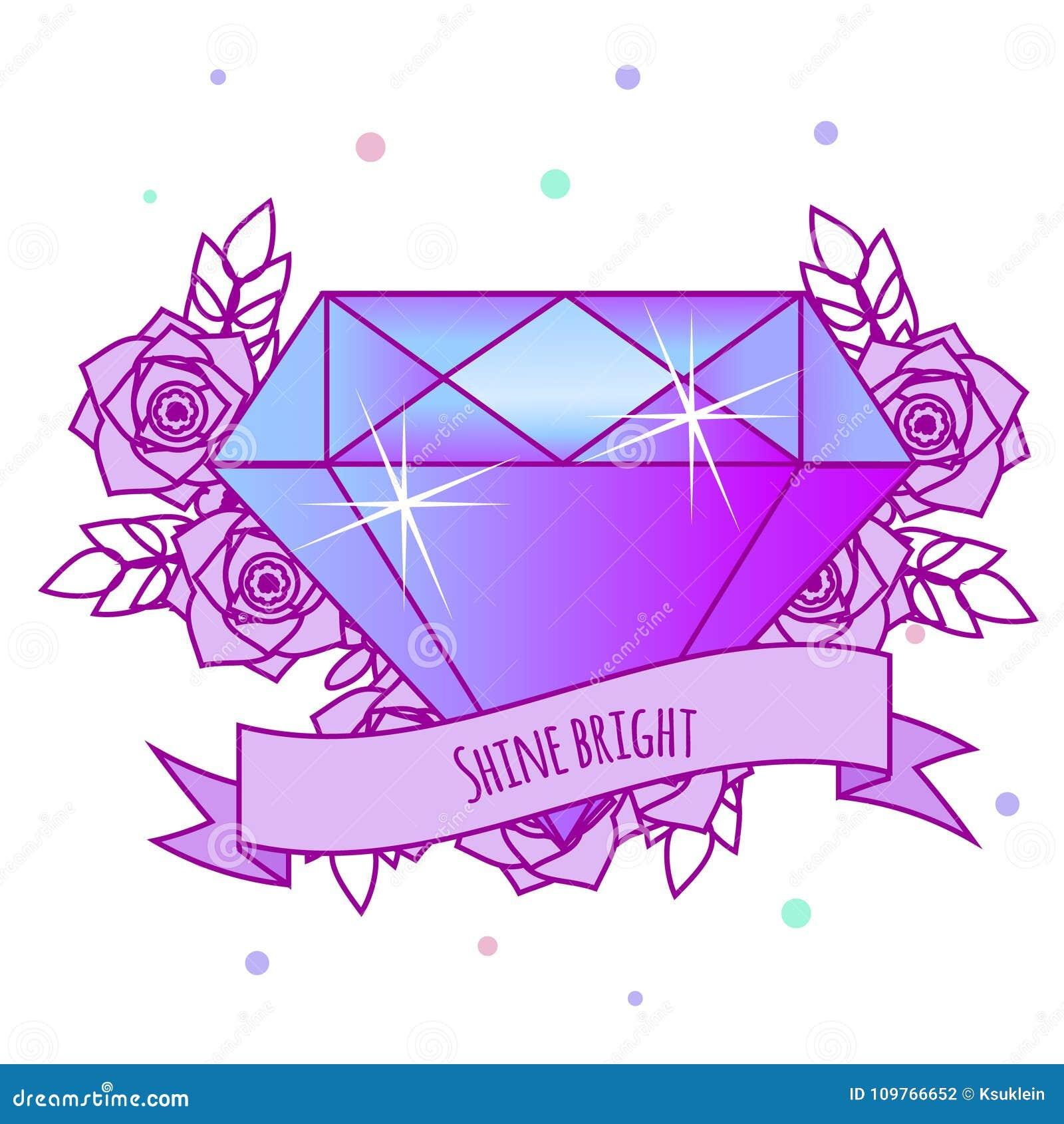 Diamant En Cristal Geometrique Avec Des Fleurs Et Le Slogan De
